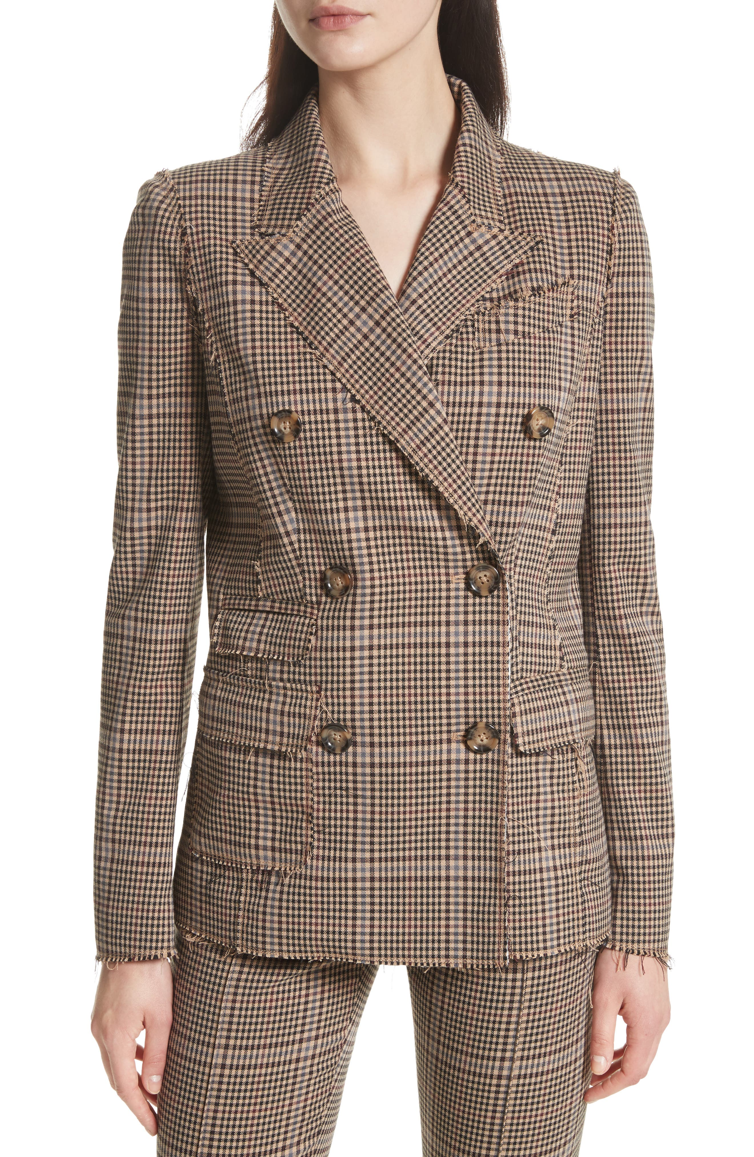 Main Image - Tracy Reese Double Breasted Plaid Blazer