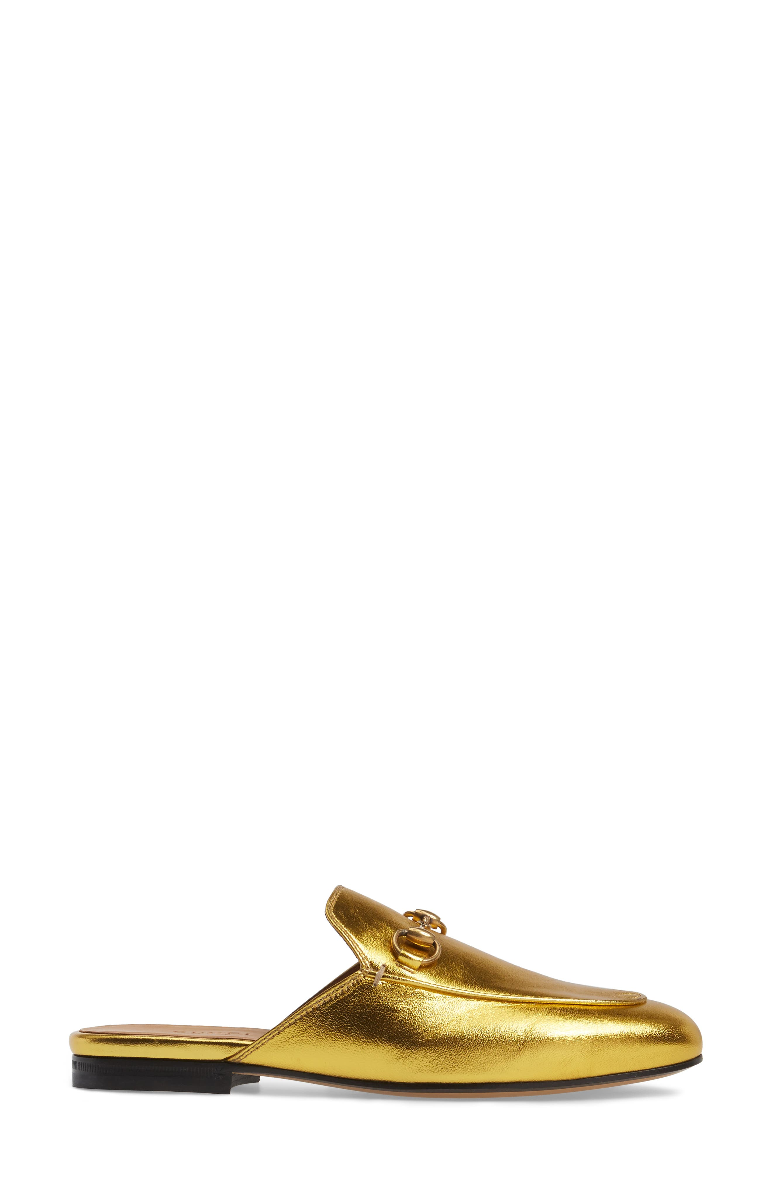 Princetown Loafer Mule,                             Alternate thumbnail 3, color,                             Metallic Gold Leather