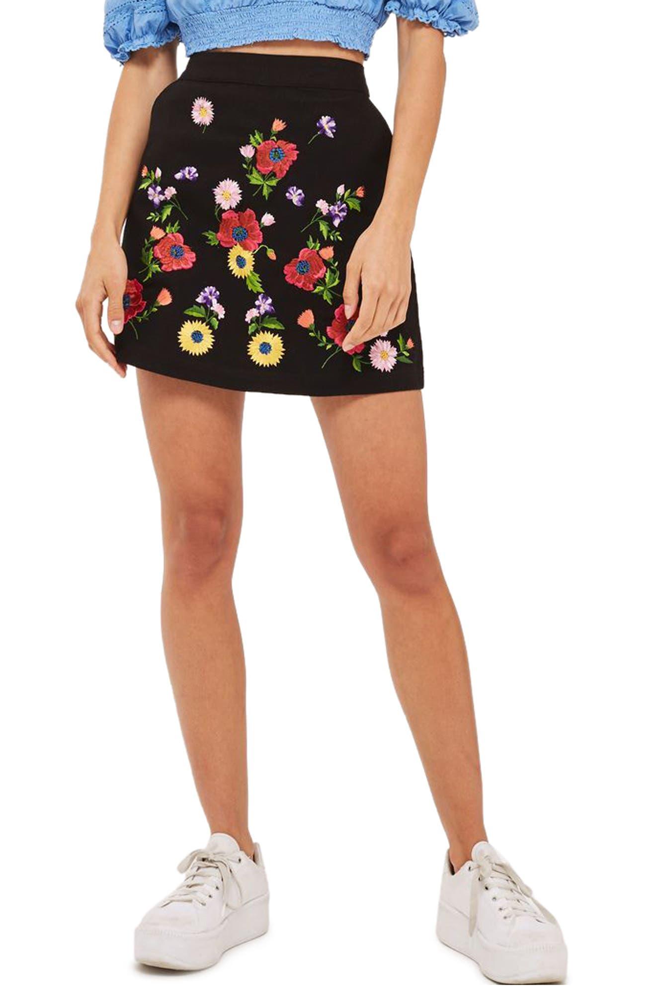 Garden Embroidered Miniskirt,                         Main,                         color, Black Multi