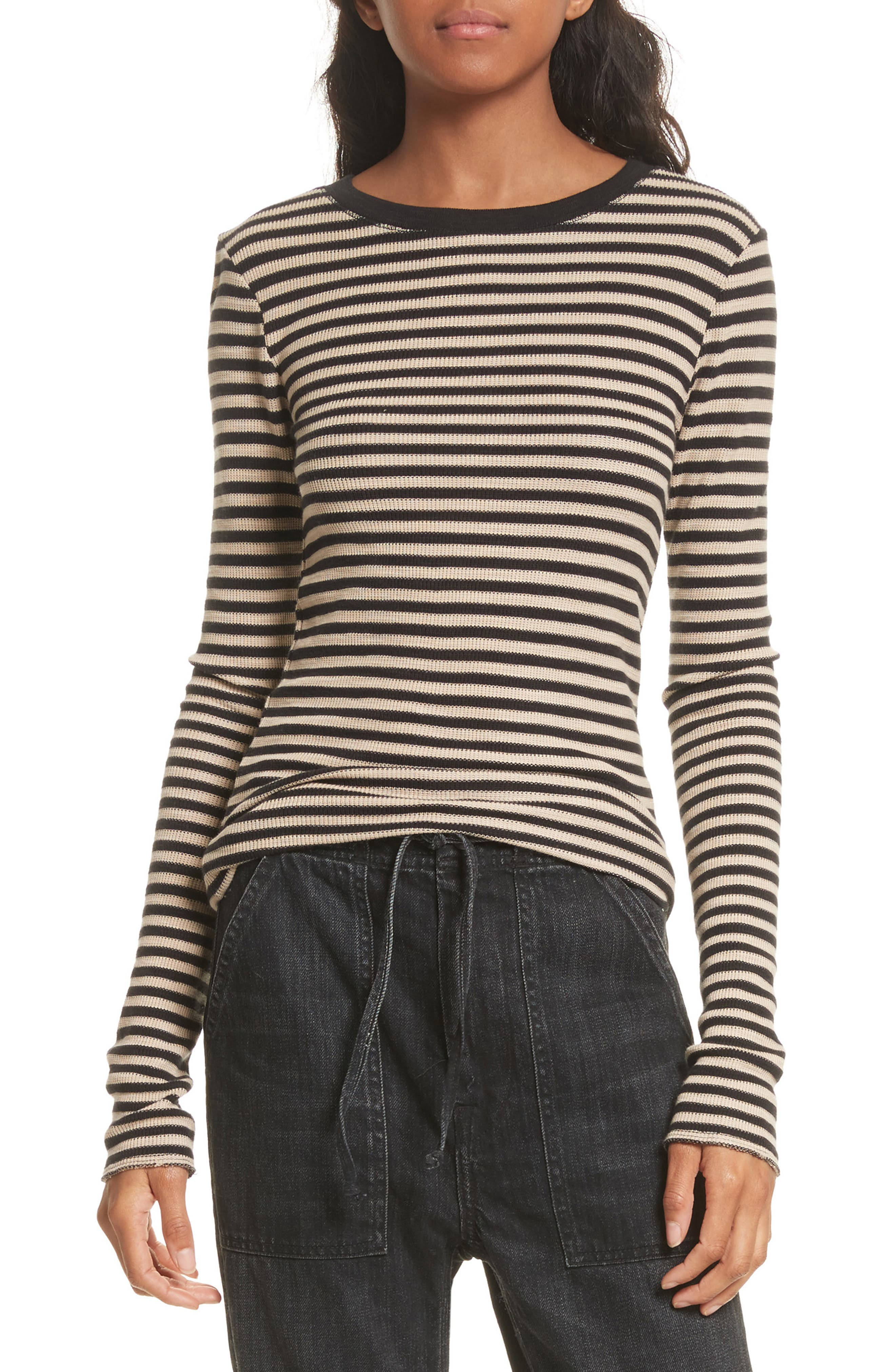 Railroad Stripe Crewneck Sweater,                             Main thumbnail 1, color,                             Taupe/ Black