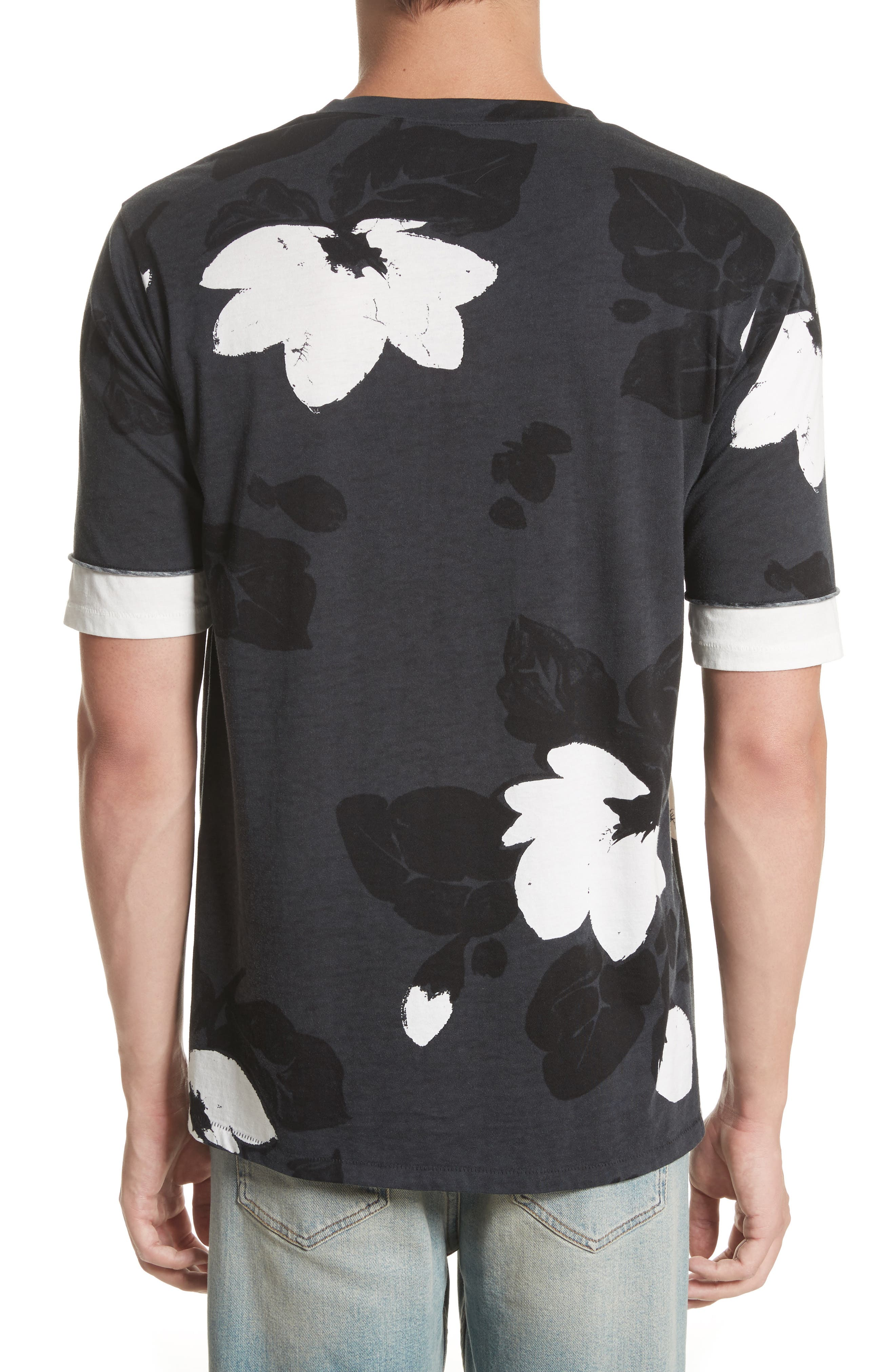 Double Sleeve Floral T-Shirt,                             Alternate thumbnail 2, color,                             Soft Black