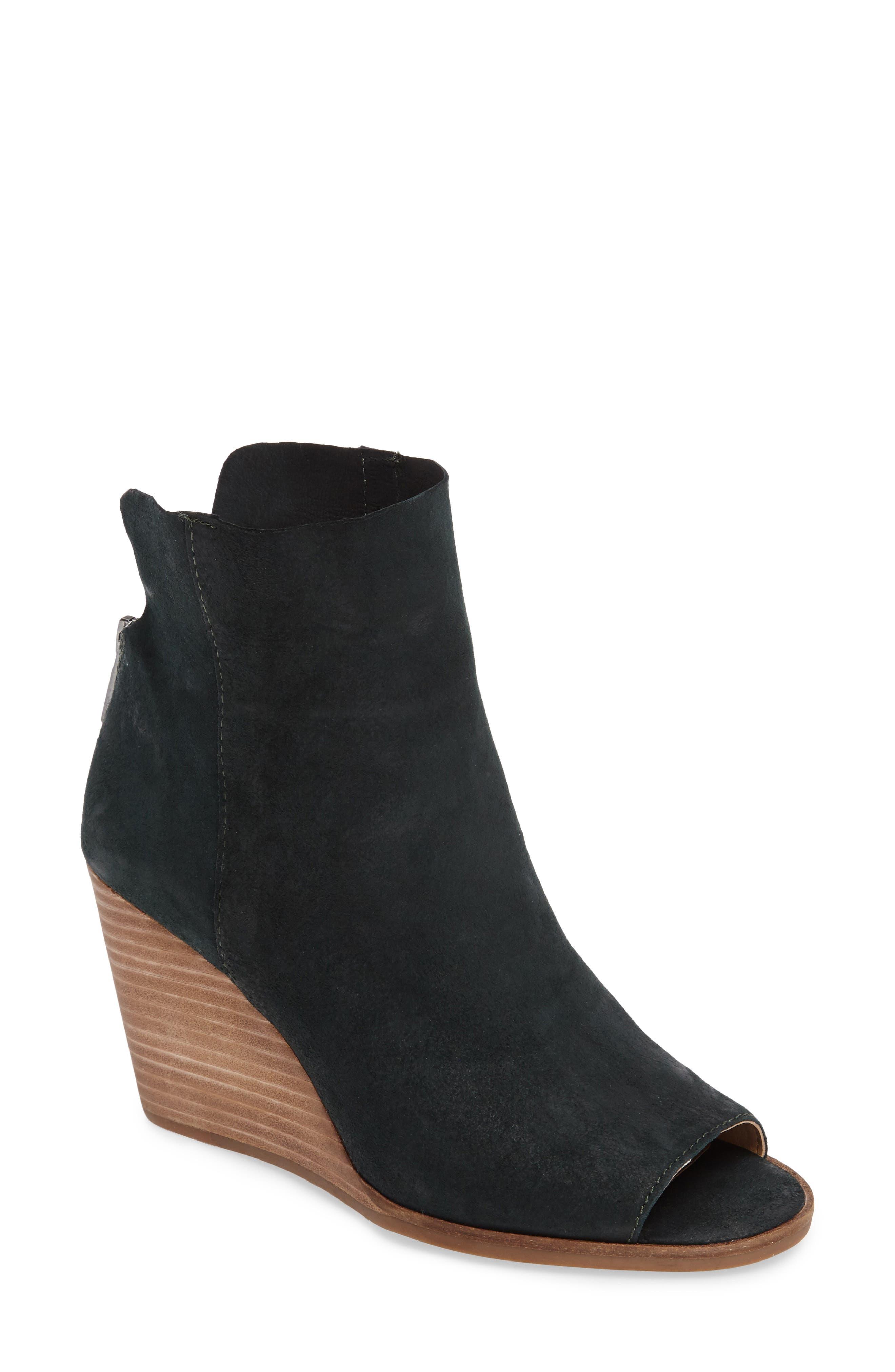 Urbi Peep Toe Bootie,                         Main,                         color, Dark Cyan Leather