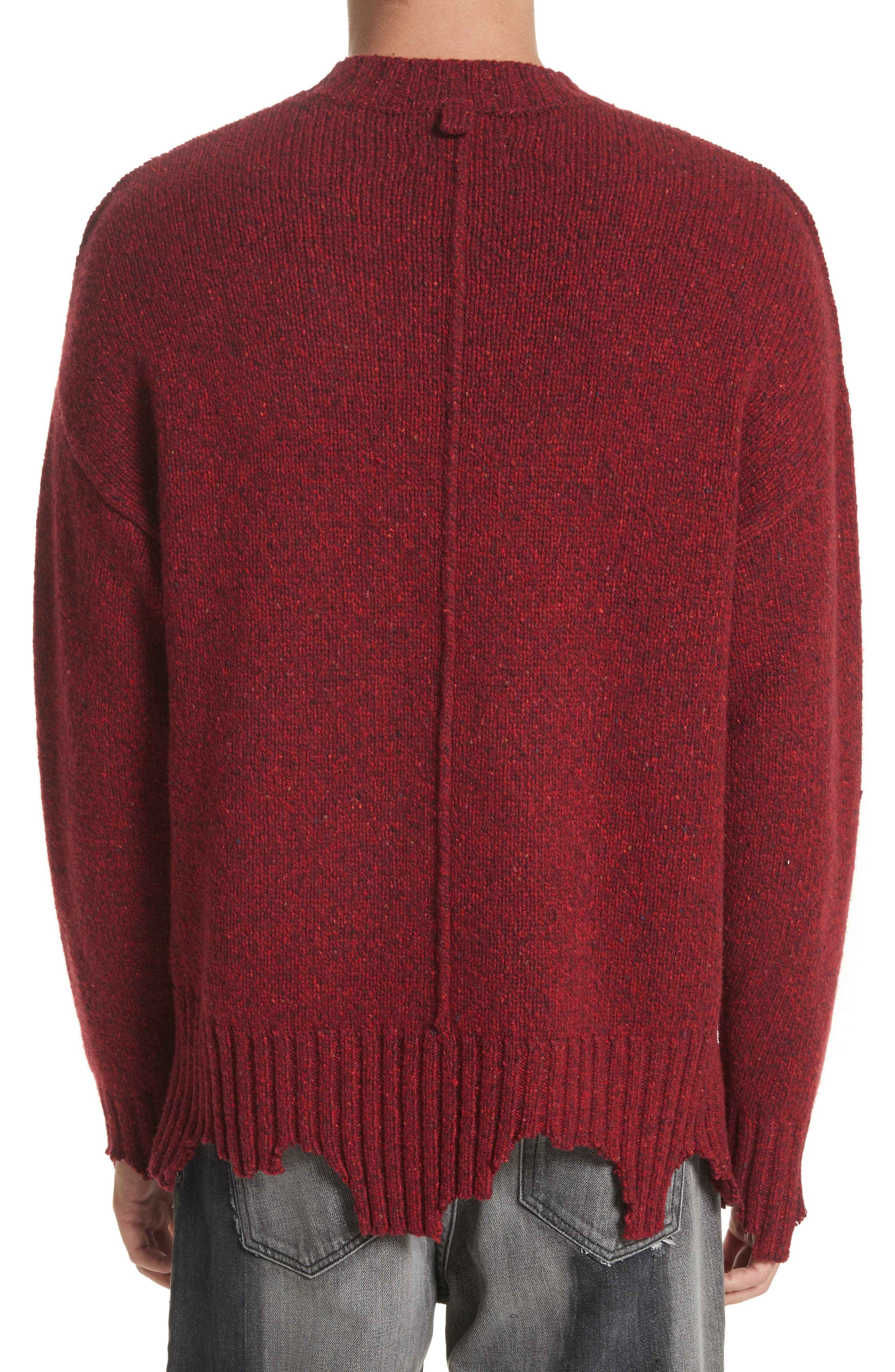 Destroyed Crewneck Sweater,                             Alternate thumbnail 2, color,                             Red