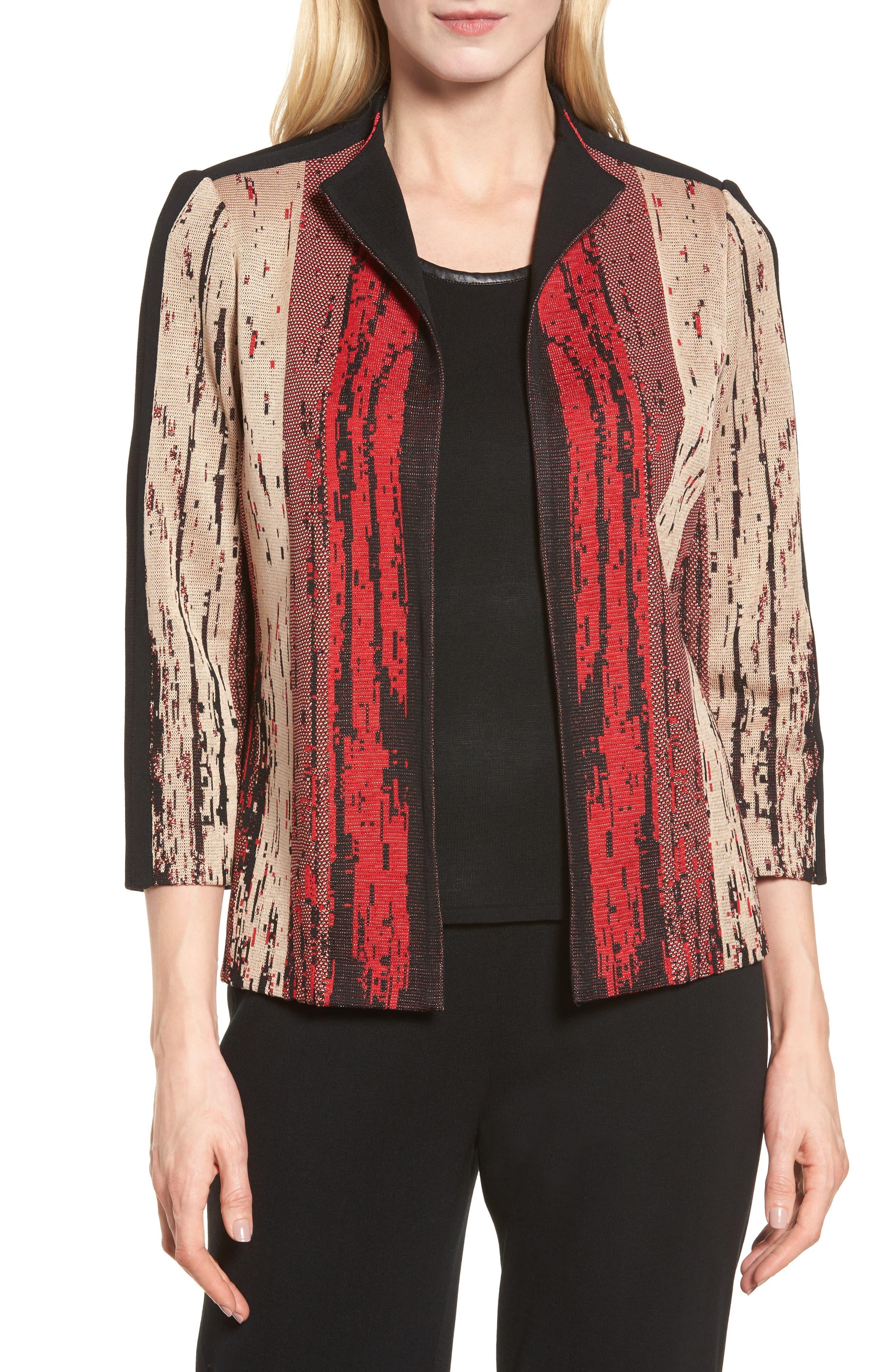 Main Image - Ming Wang Jacquard Front Jacket