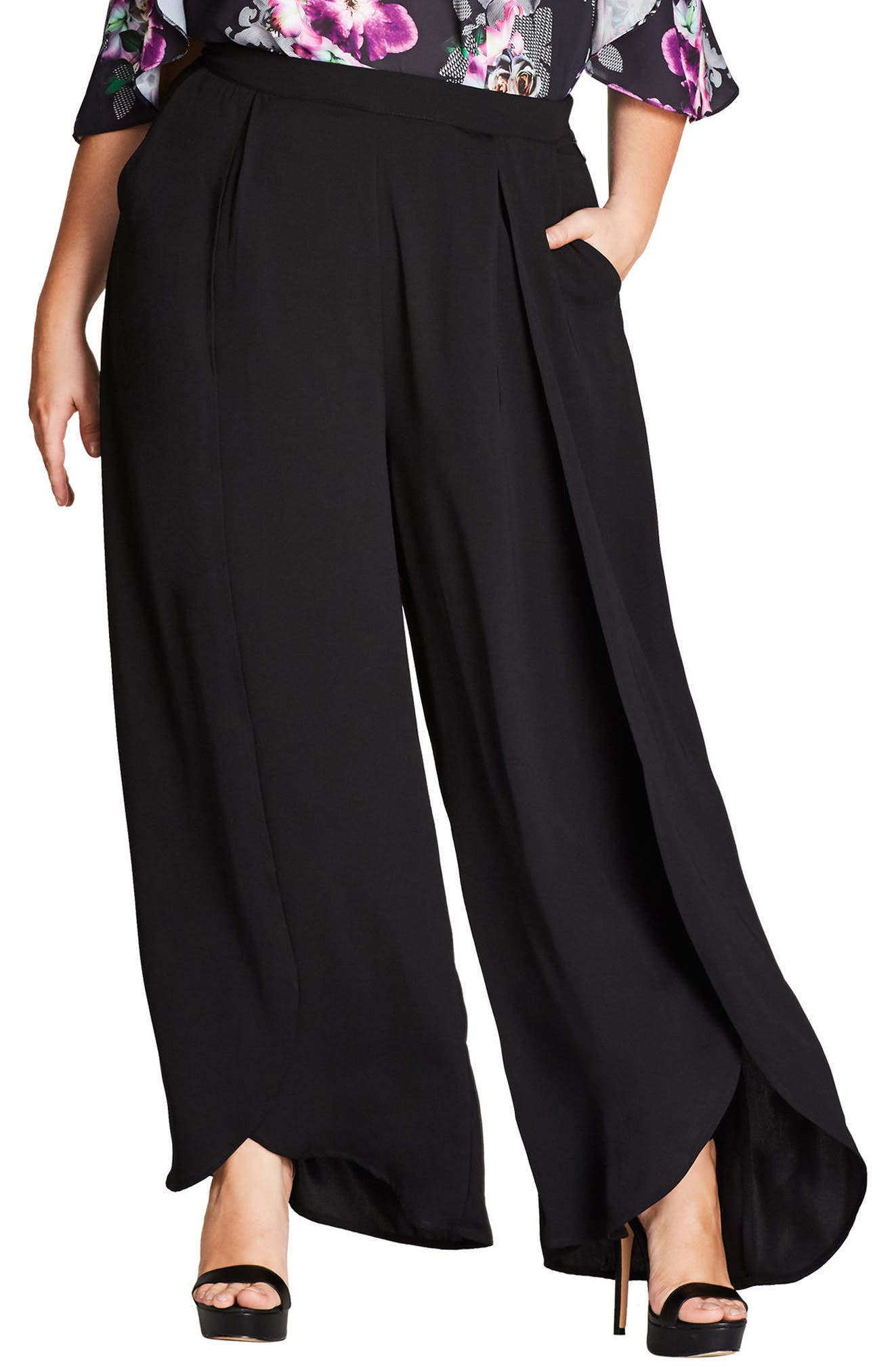 Main Image - City Chic Split Front Wide Leg Pants (Plus Size)