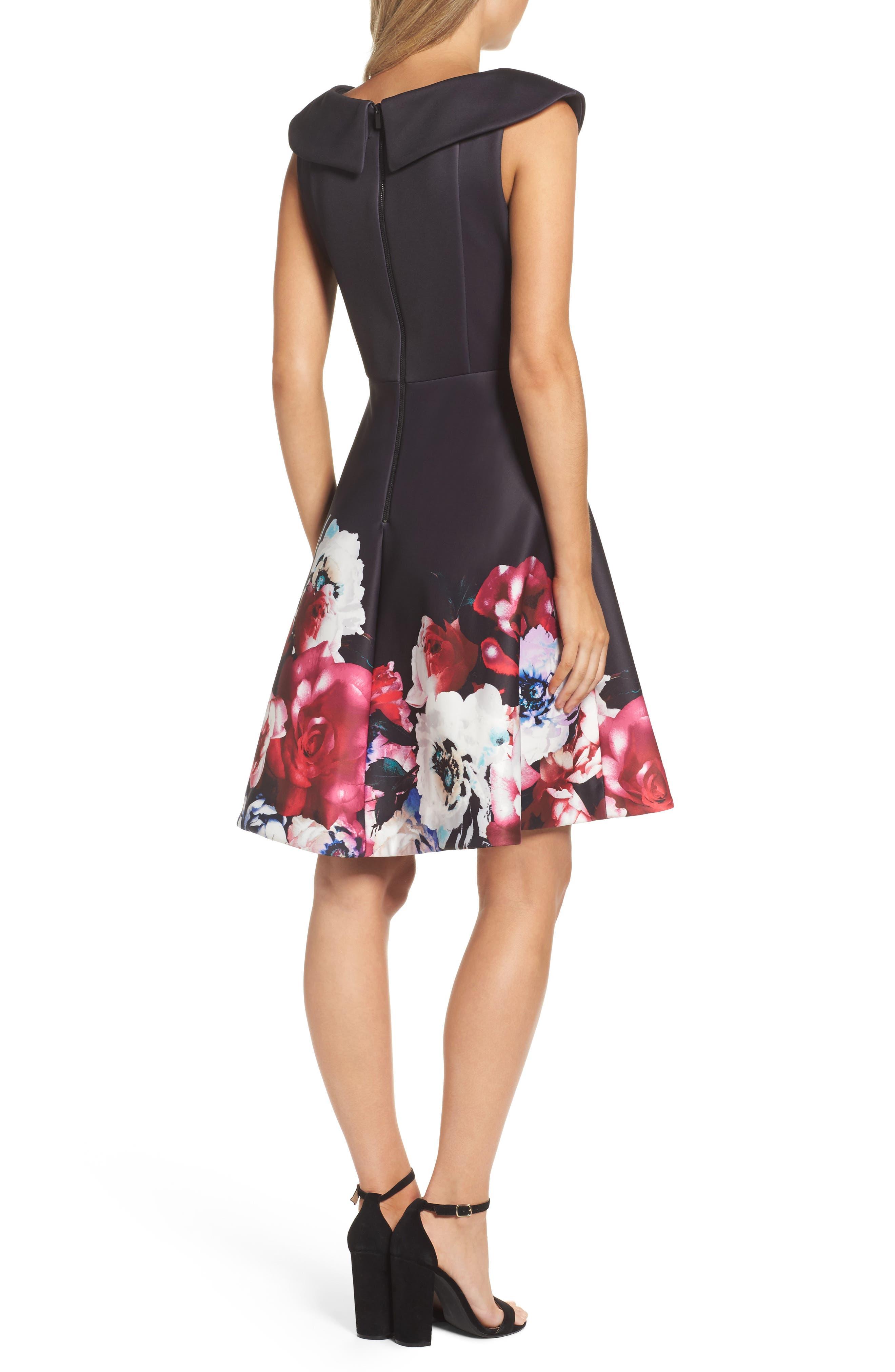 Scuba Knit Fit & Flare Dress,                             Alternate thumbnail 2, color,                             Black Raspberry
