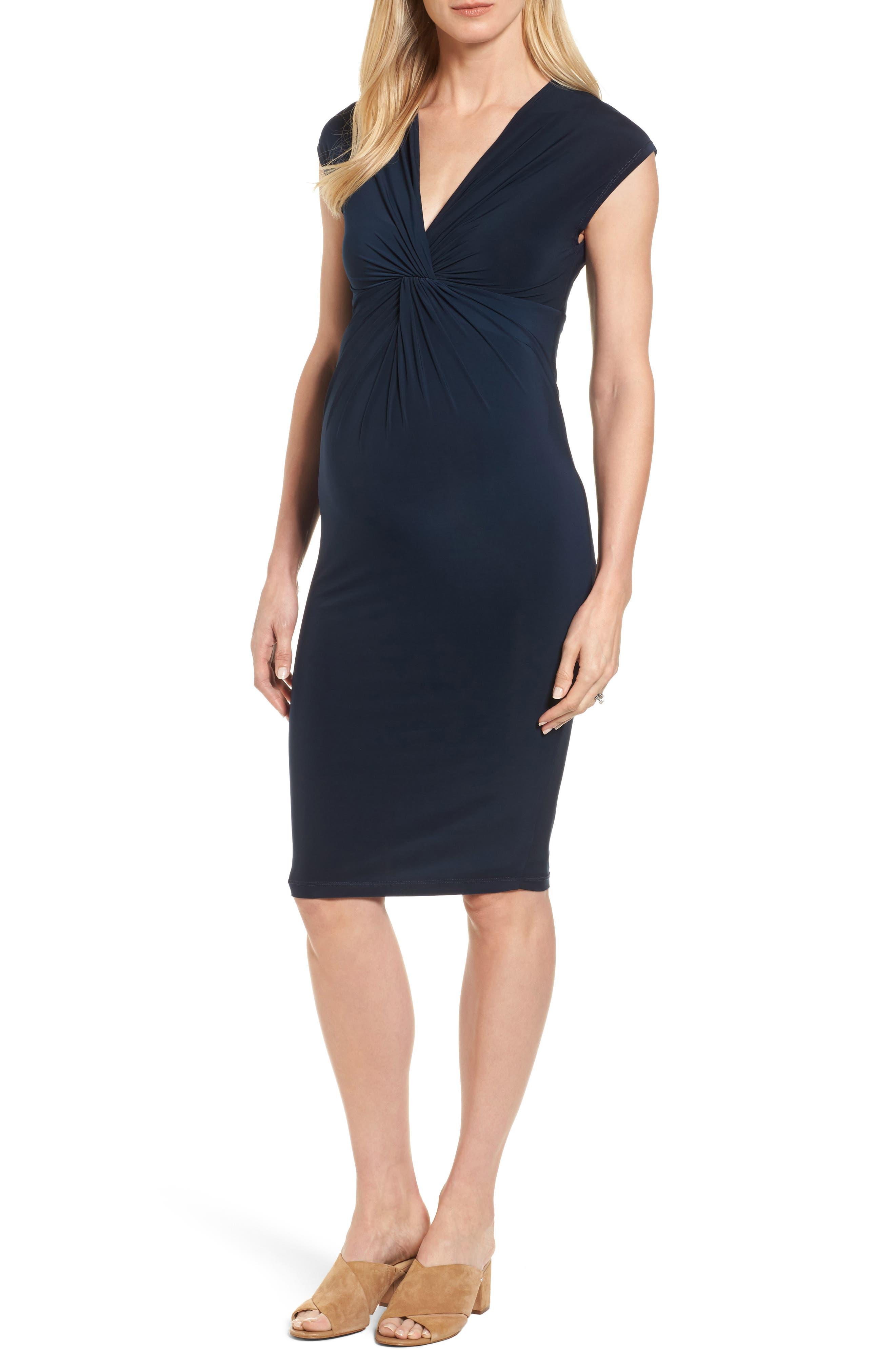 'Carla' Knot Front Jersey Maternity Dress,                             Main thumbnail 1, color,                             Darkest Navy