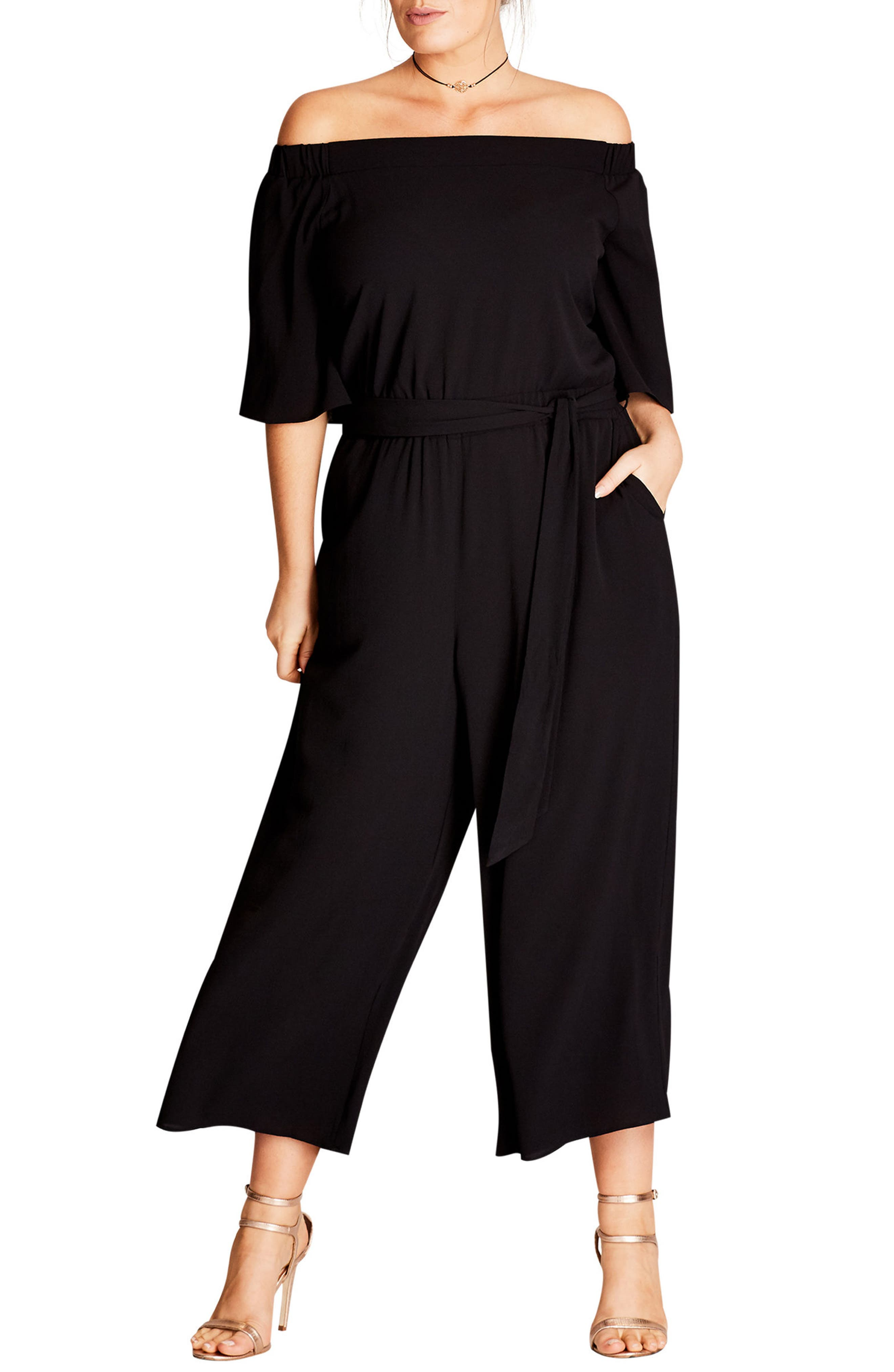 Off the Shoulder Jumpsuit,                             Main thumbnail 1, color,                             Black