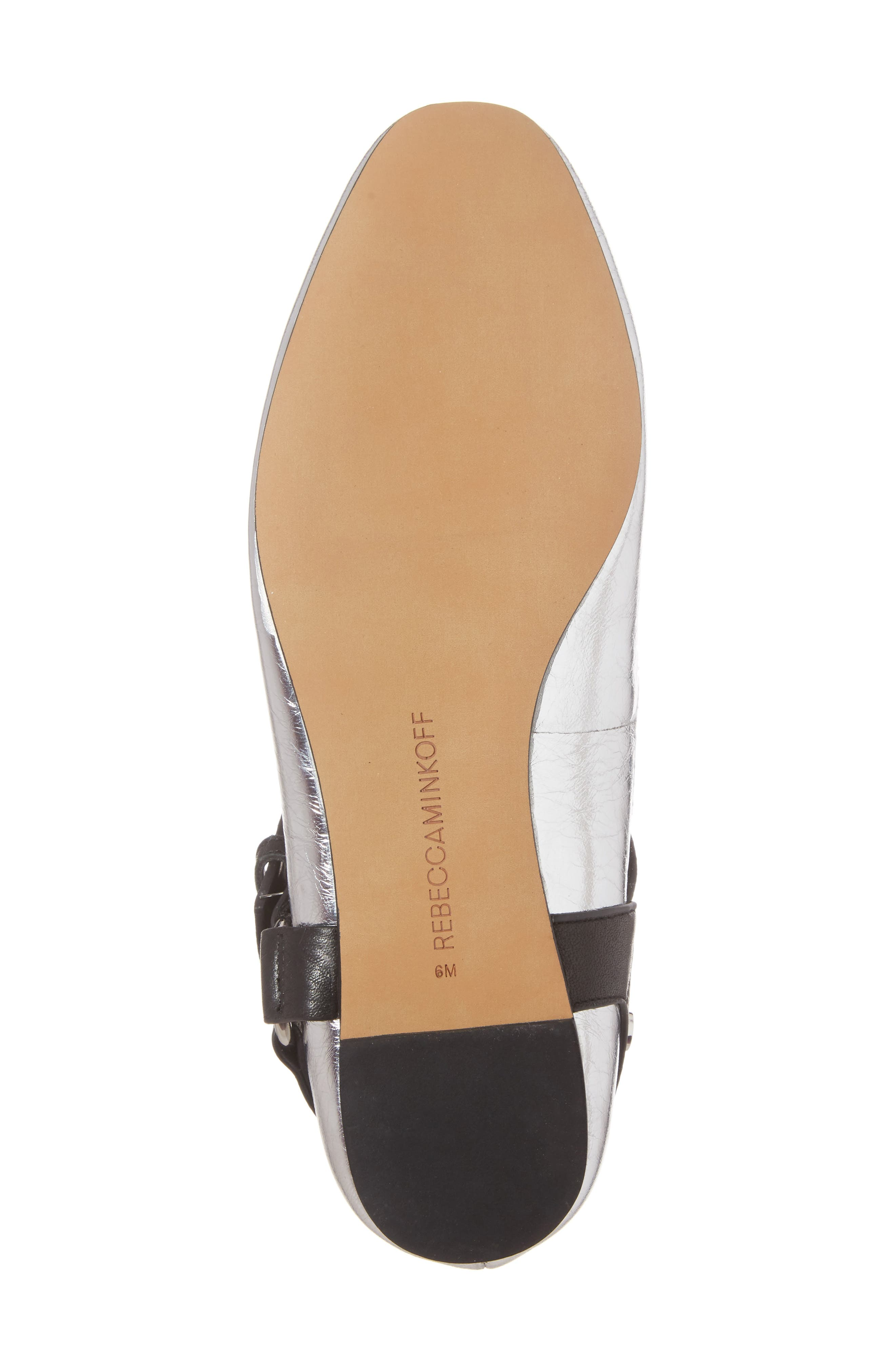 Vivica Ankle Strap Flat,                             Alternate thumbnail 7, color,                             Silver Leather