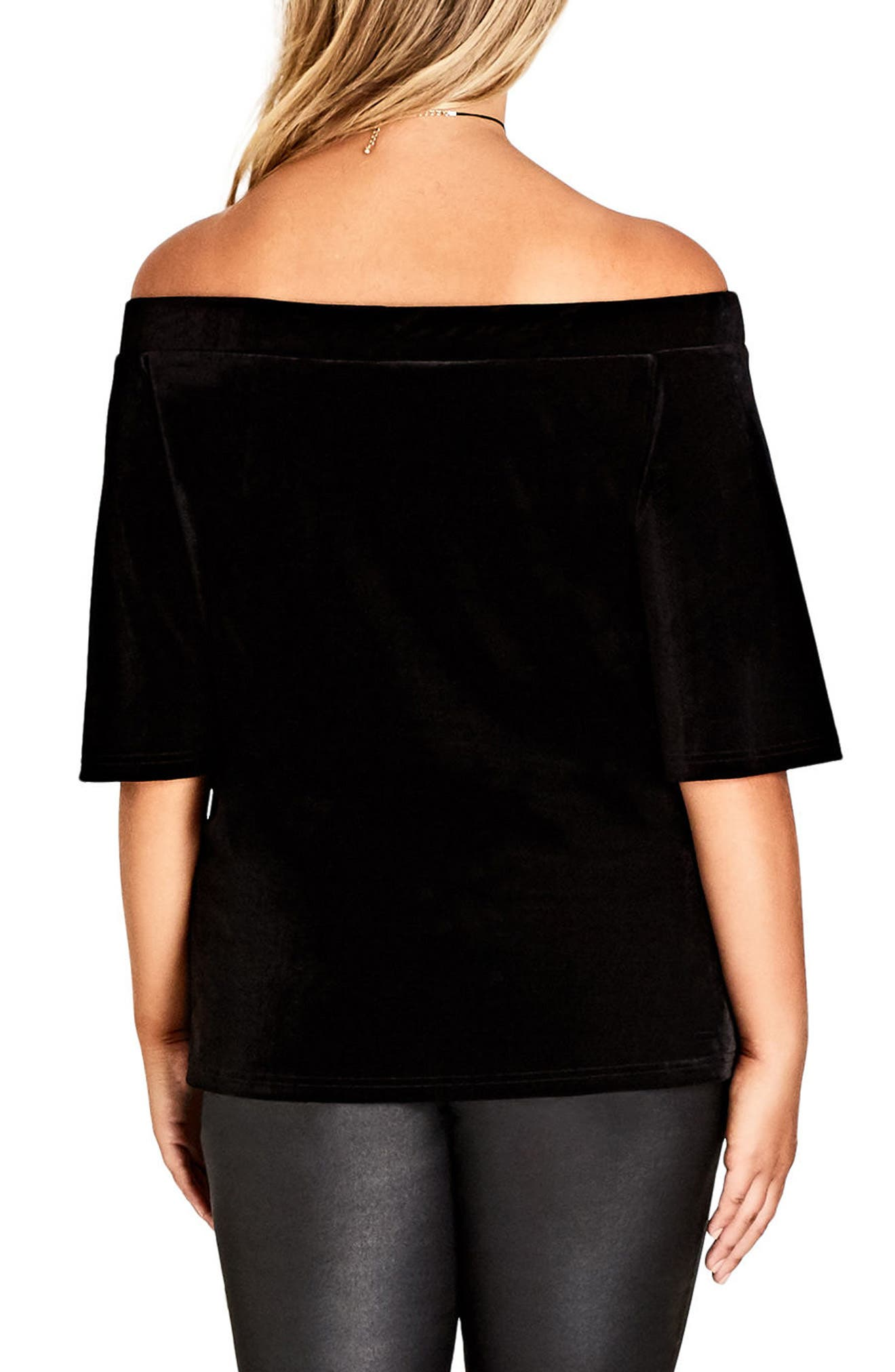 Alternate Image 2  - City Chic Stretch Velvet Off the Shoulder Top (Plus Size)