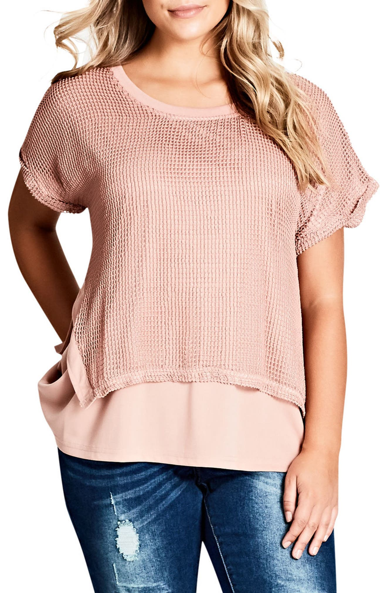 City Chic Mesh Overlay Top (Plus Size)