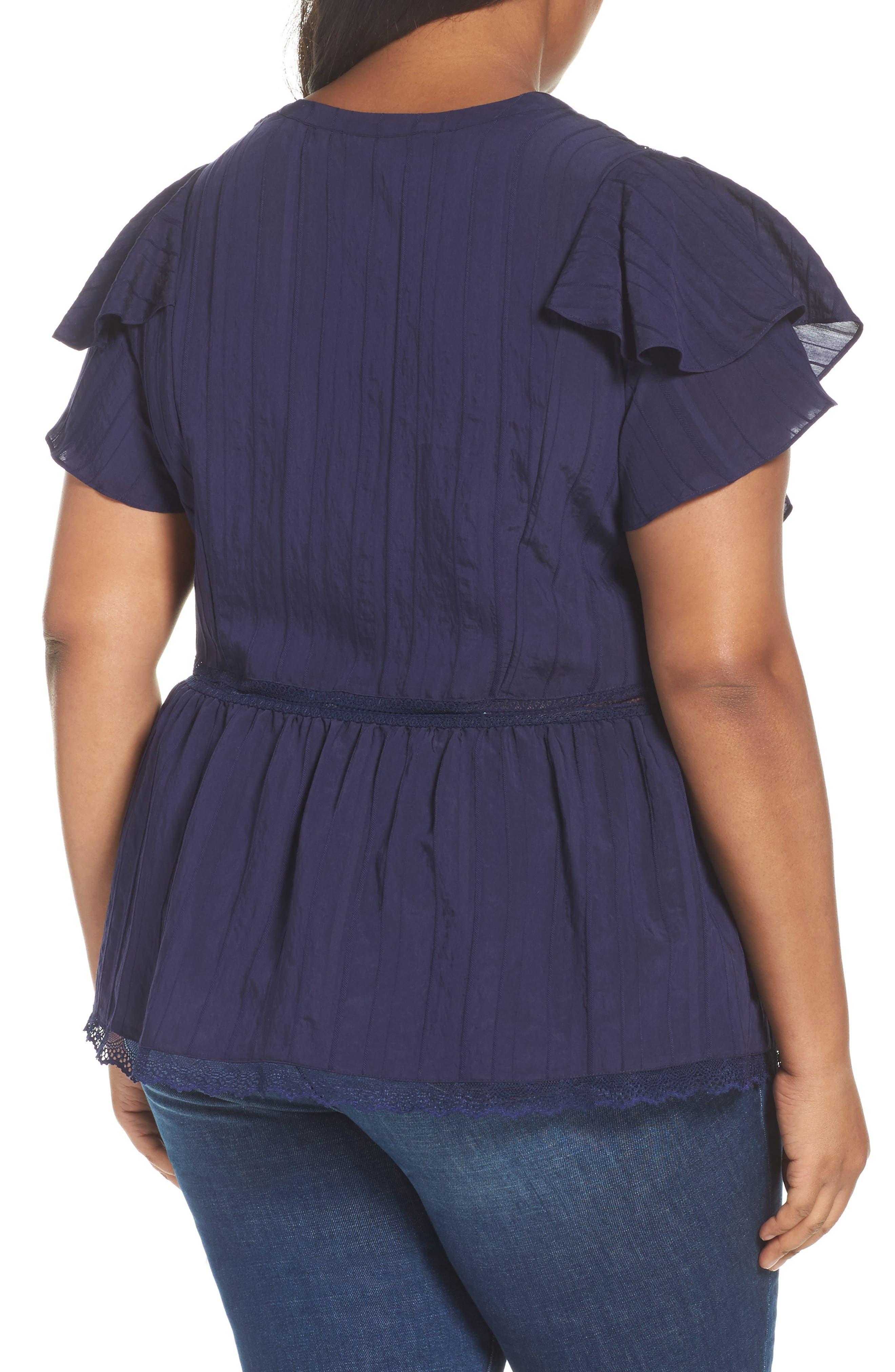 Alternate Image 2  - Sejour Lace Trim Pintuck Pleated Top (Plus Size)