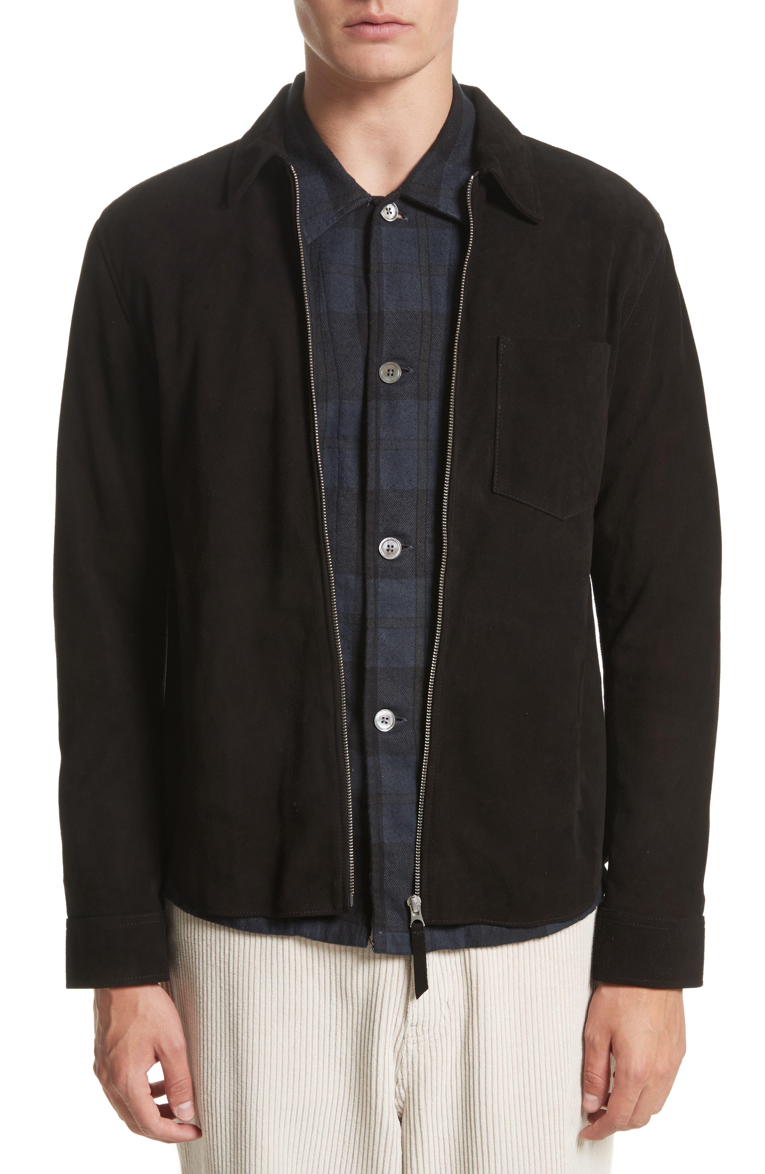 Suede Shirt Jacket,                         Main,                         color, Black