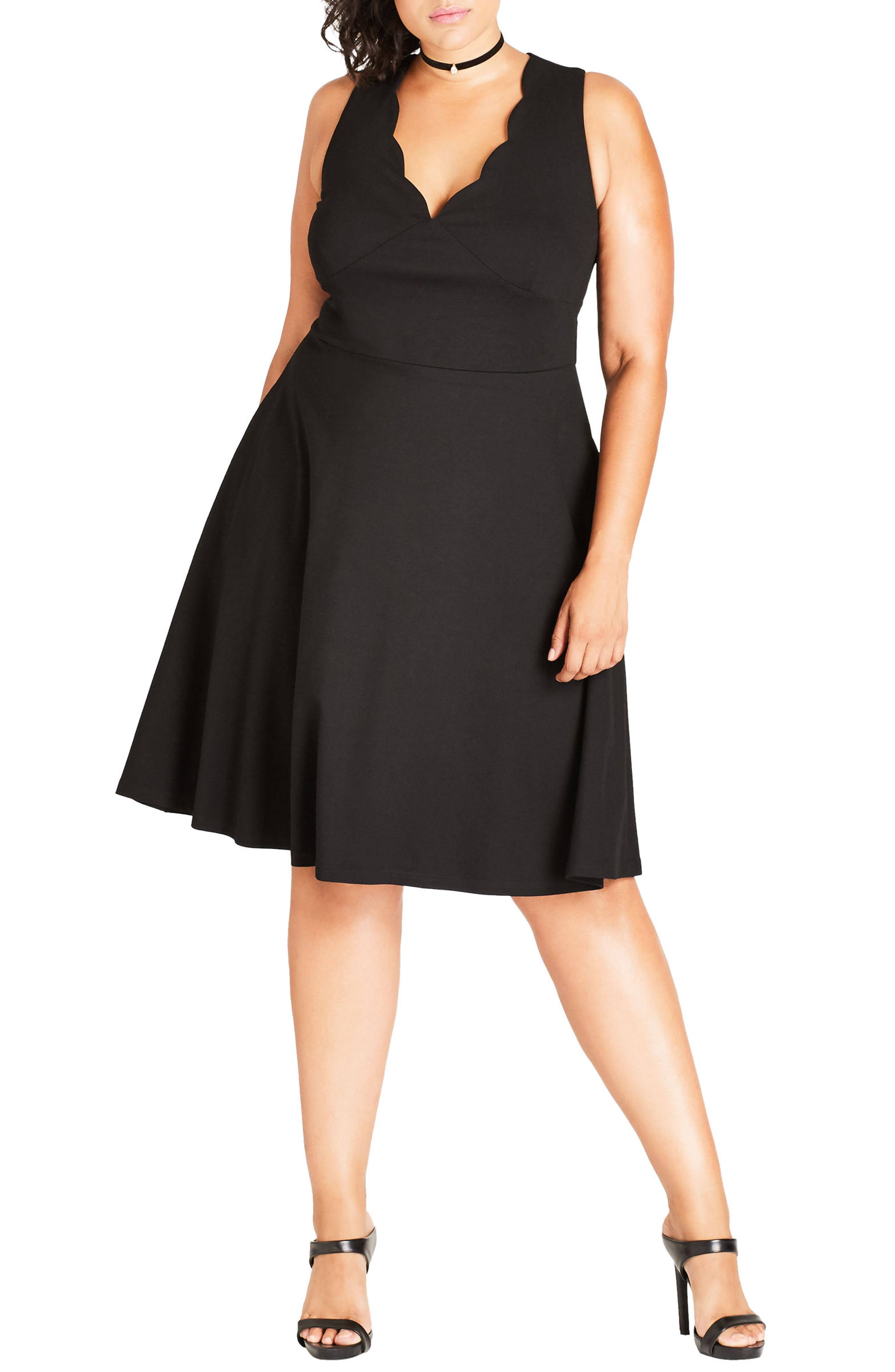 City Chic Sweet Scallop Fit & Flare Dress (Plus Size)