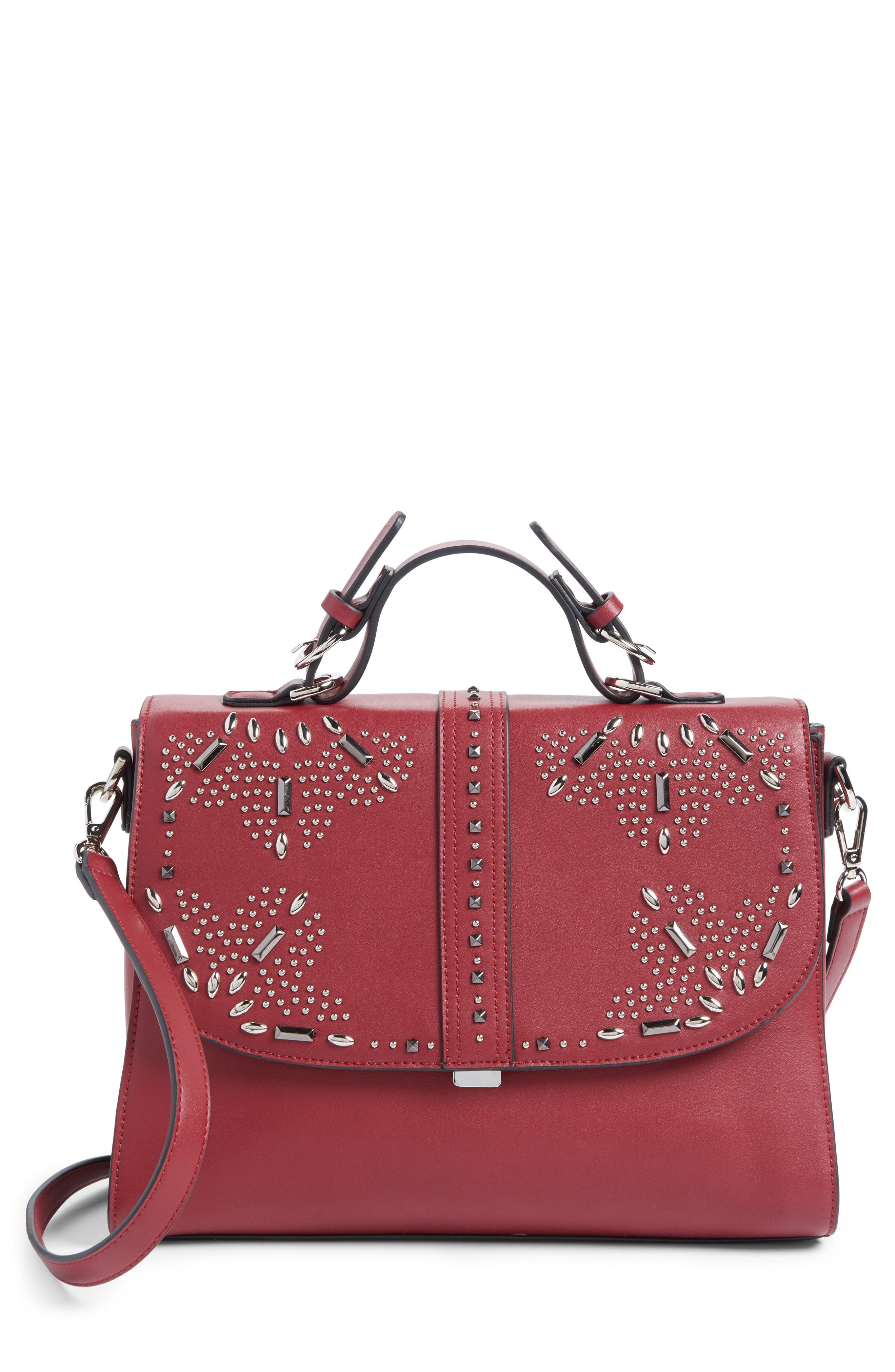 Blair Embellished Faux Leather Top Handle Satchel,                         Main,                         color, Red Cerise