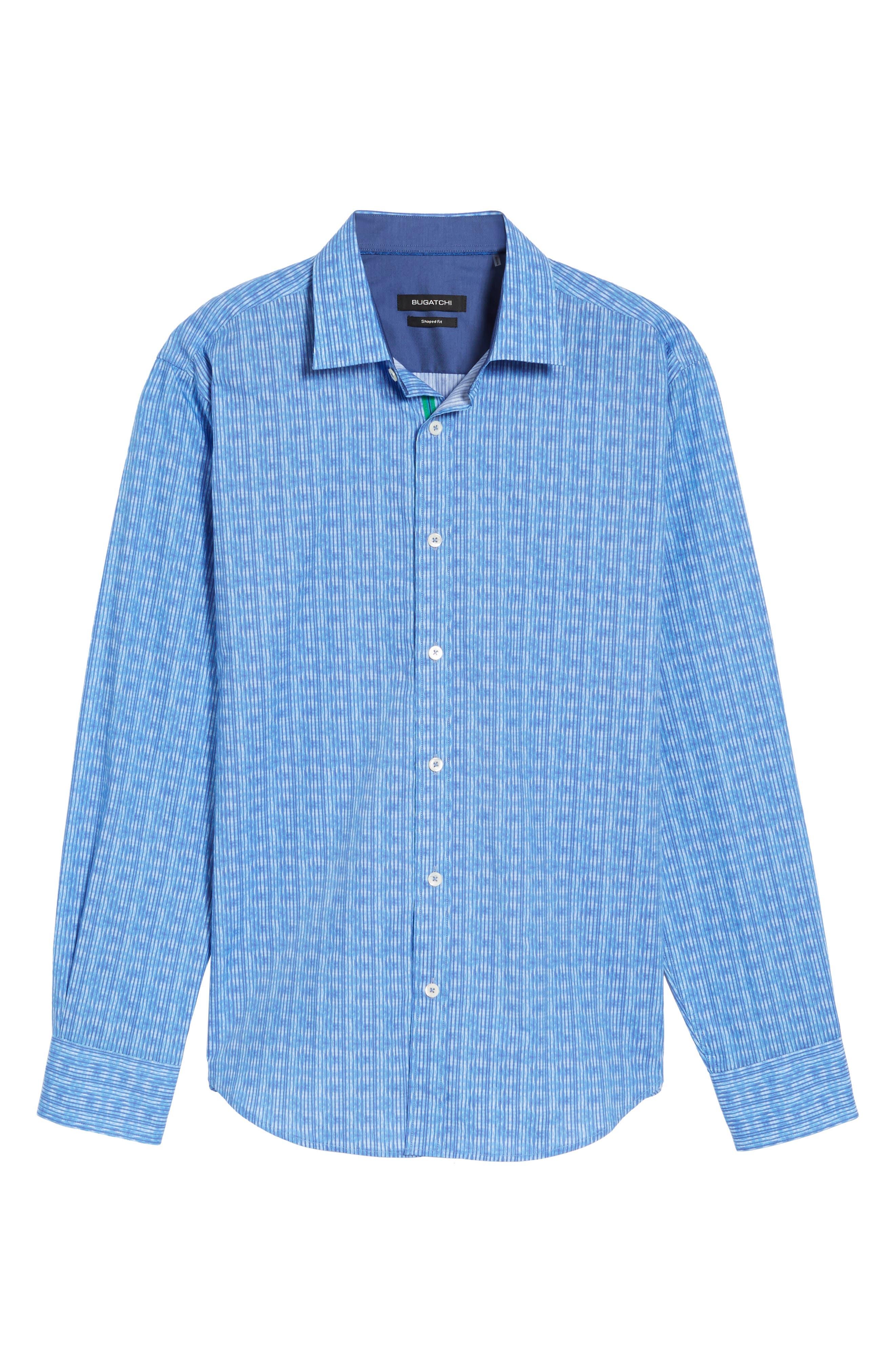 Shaped Fit Stripe Sport Shirt,                             Alternate thumbnail 6, color,                             Classic Blue
