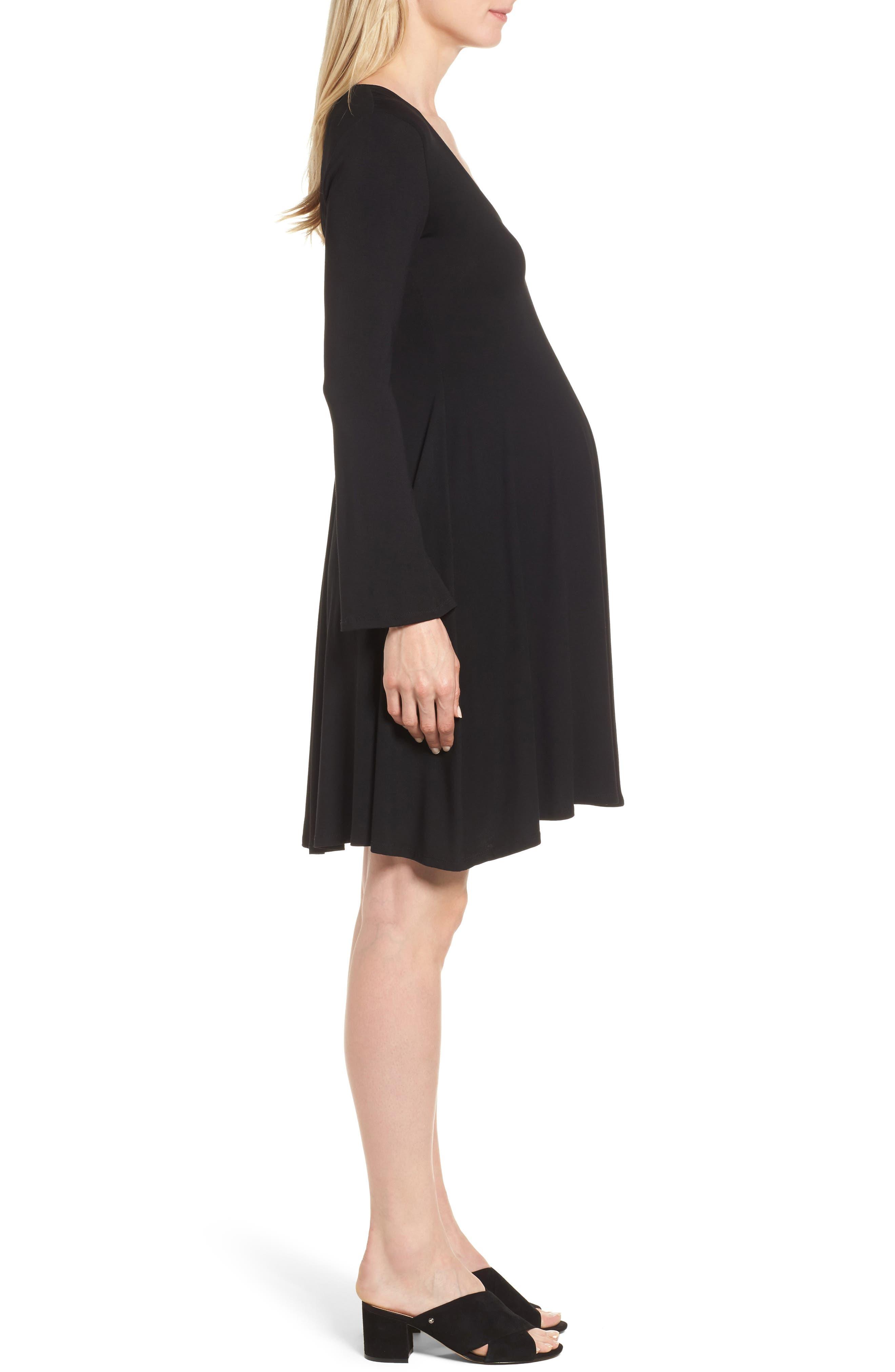 Paola Maternity Trapeze Dress,                             Alternate thumbnail 3, color,                             Caviar Black