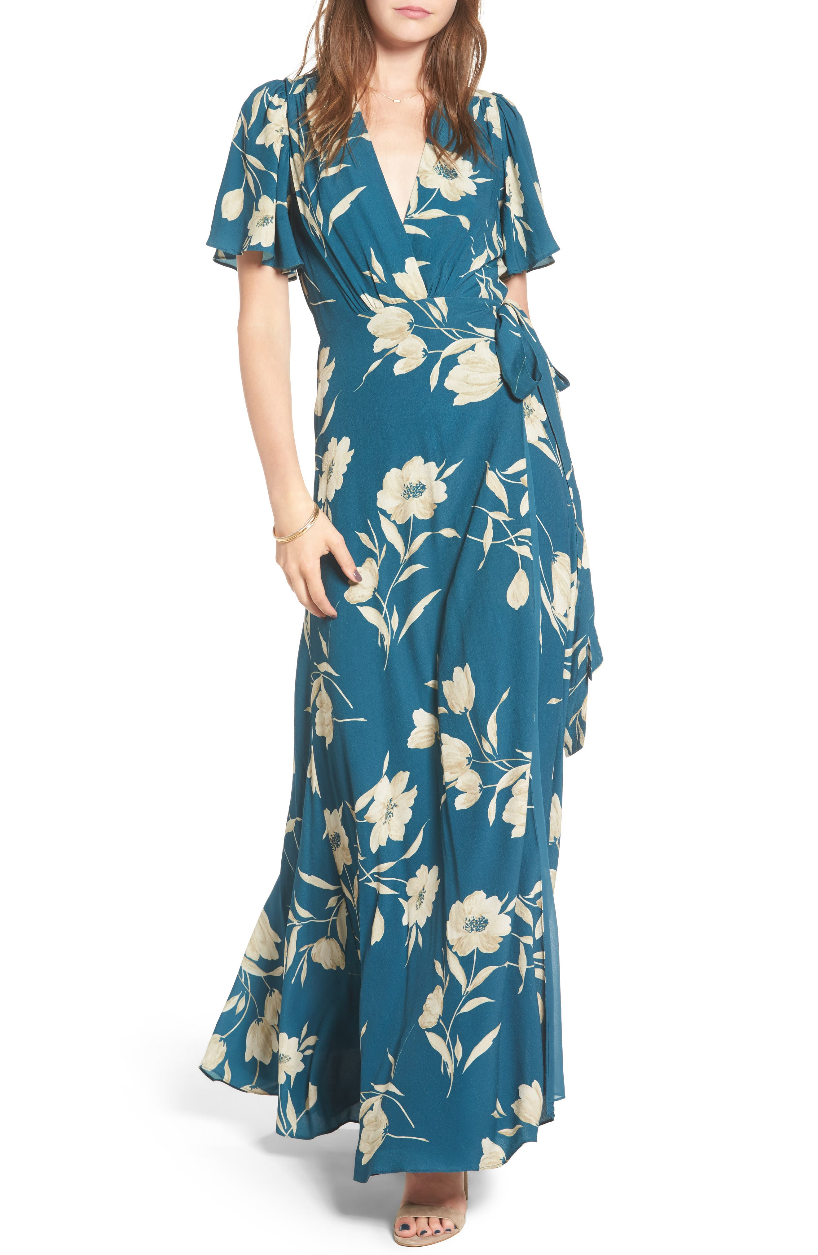 Plaza Wrap Maxi Dress,                             Main thumbnail 1, color,                             Sage Floral