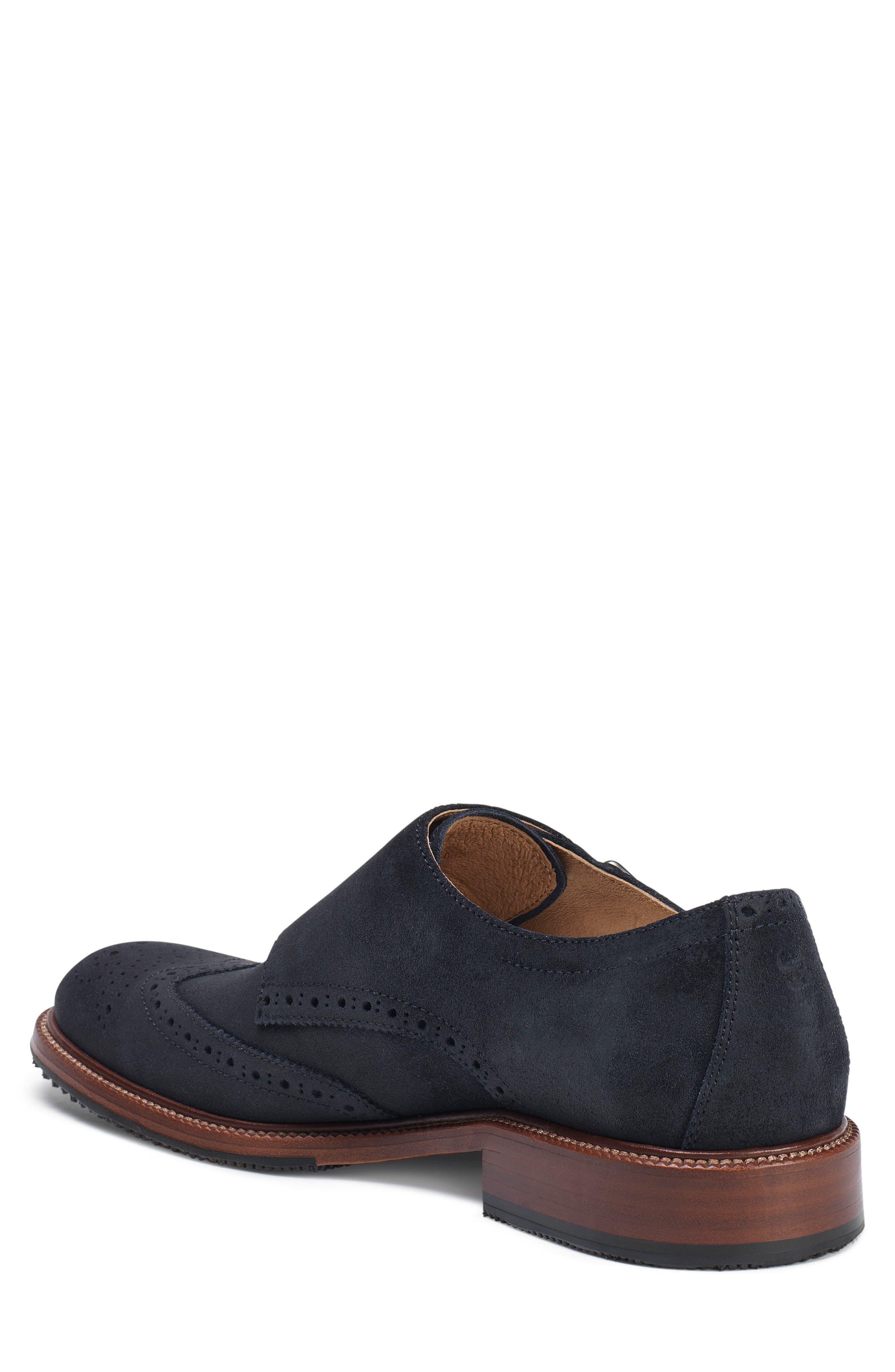Leland Double Monk Strap Shoe,                             Alternate thumbnail 2, color,                             Navy Waxed Suede