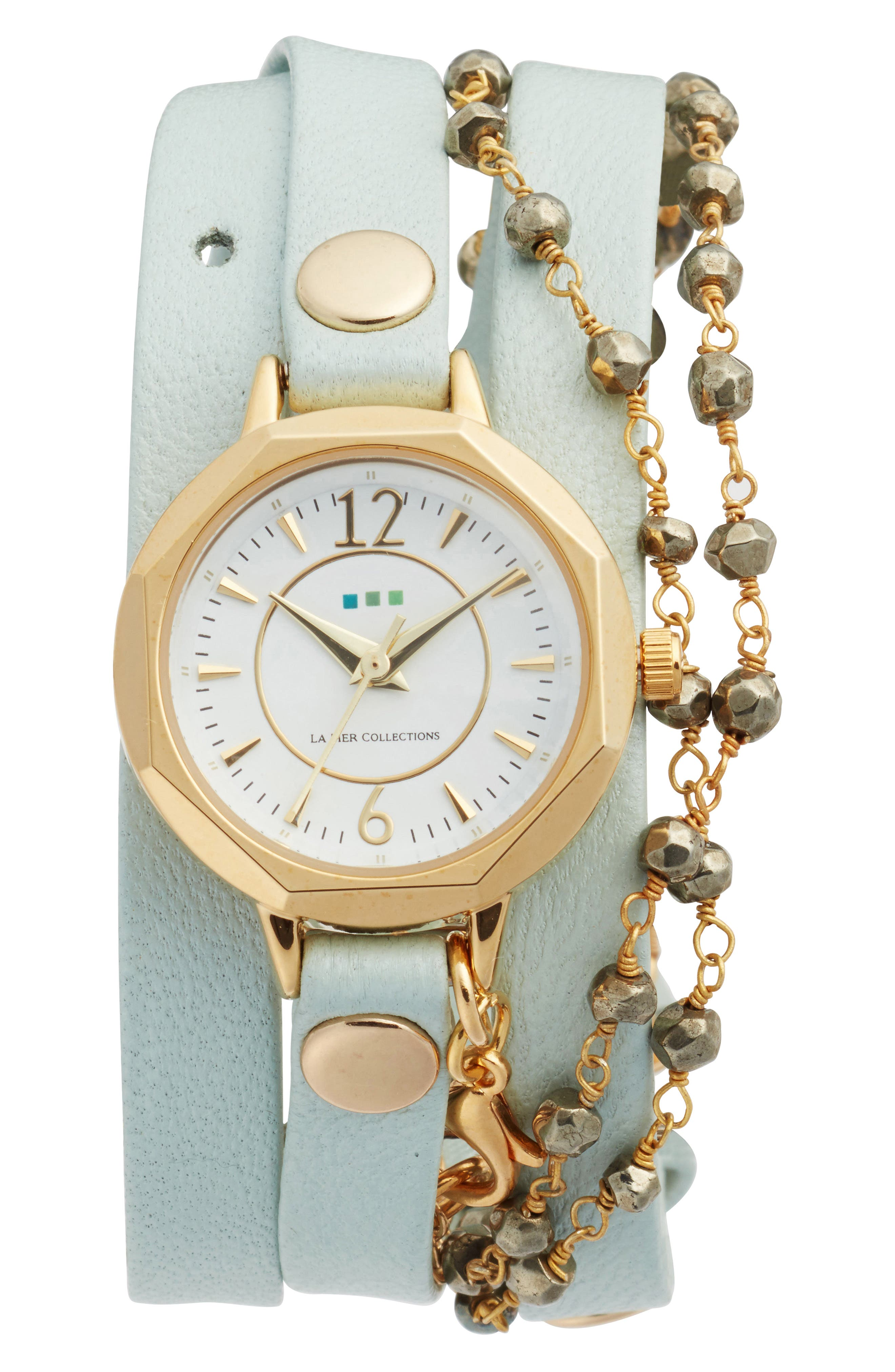 Perth Wrap Leather Strap Watch, 22mm,                         Main,                         color, Mint/White/Gold