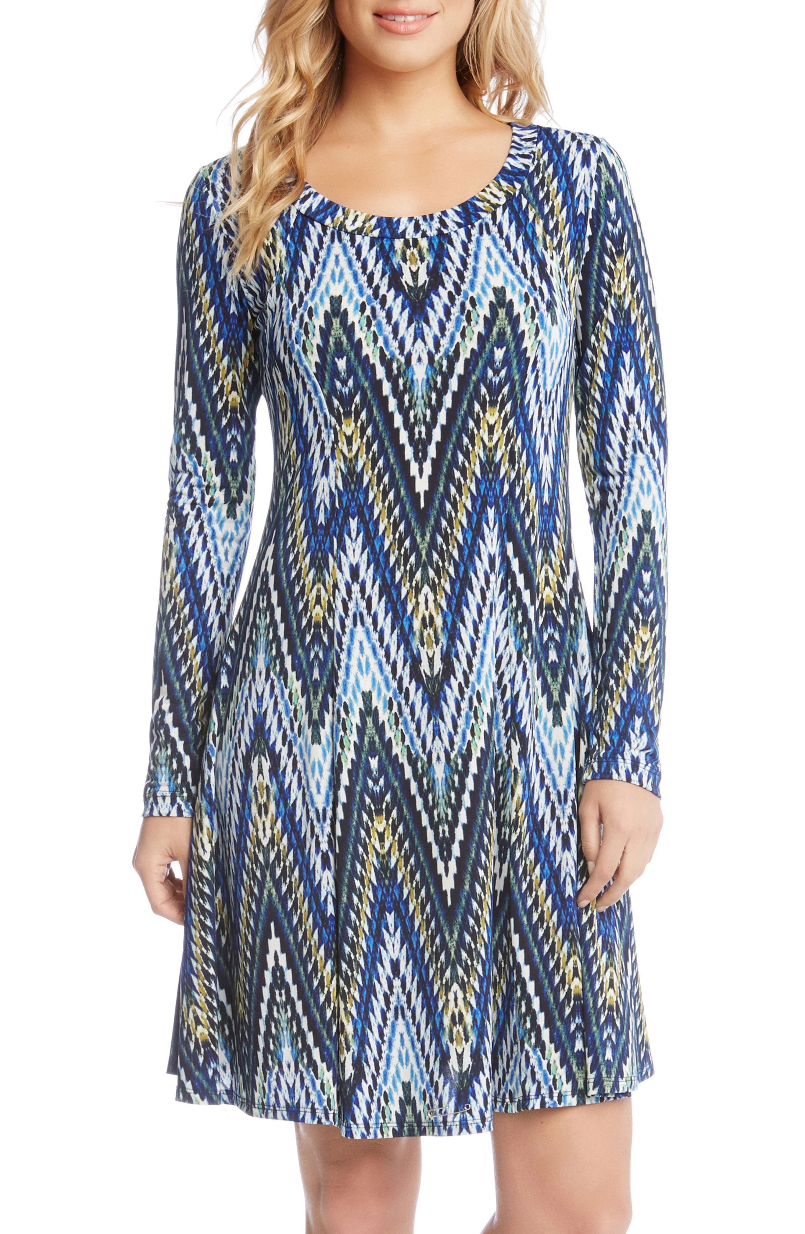 Long Sleeve A-Line Dress,                         Main,                         color, Print