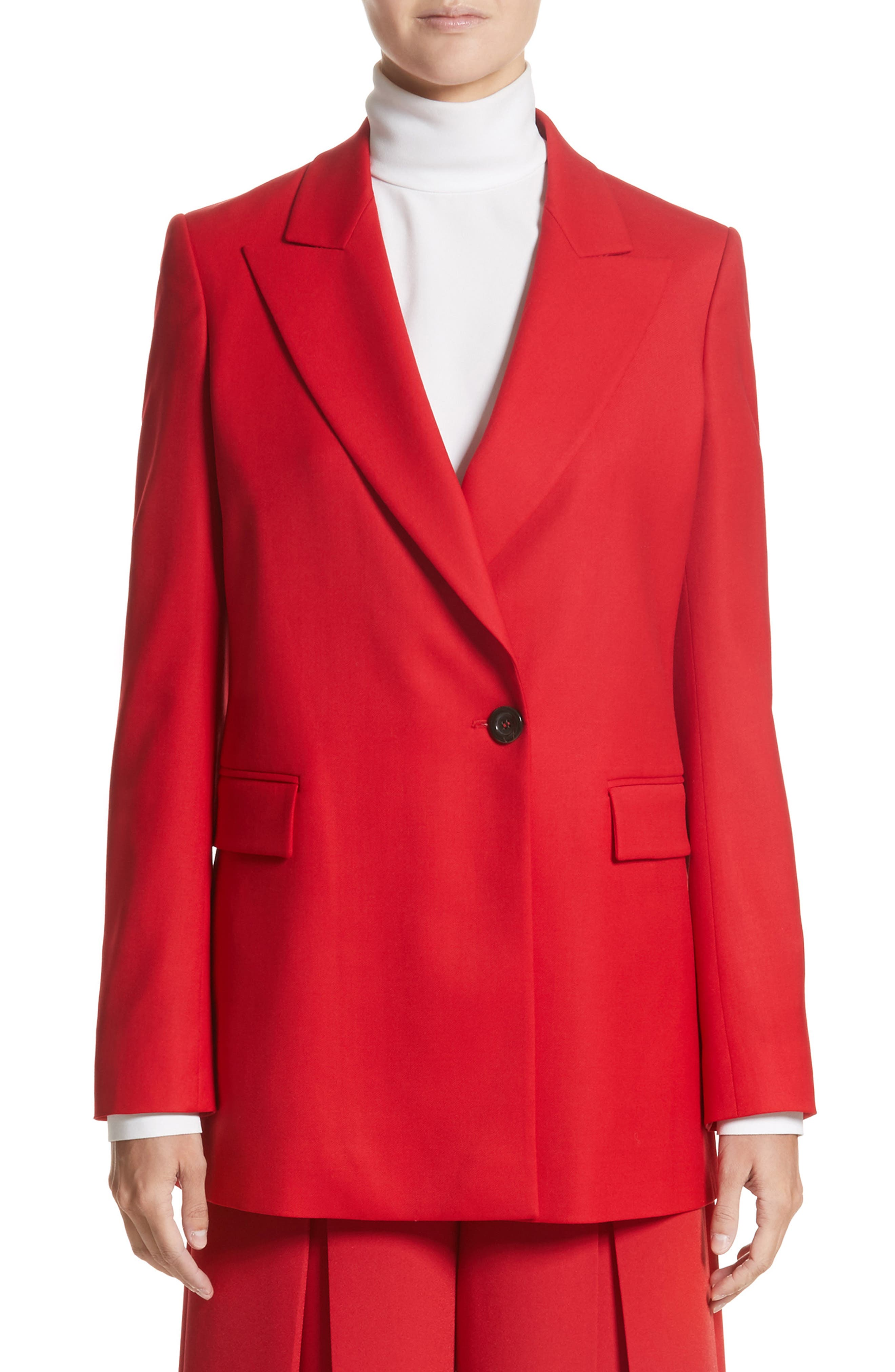 Stretch Wool Blazer,                             Main thumbnail 1, color,                             Red
