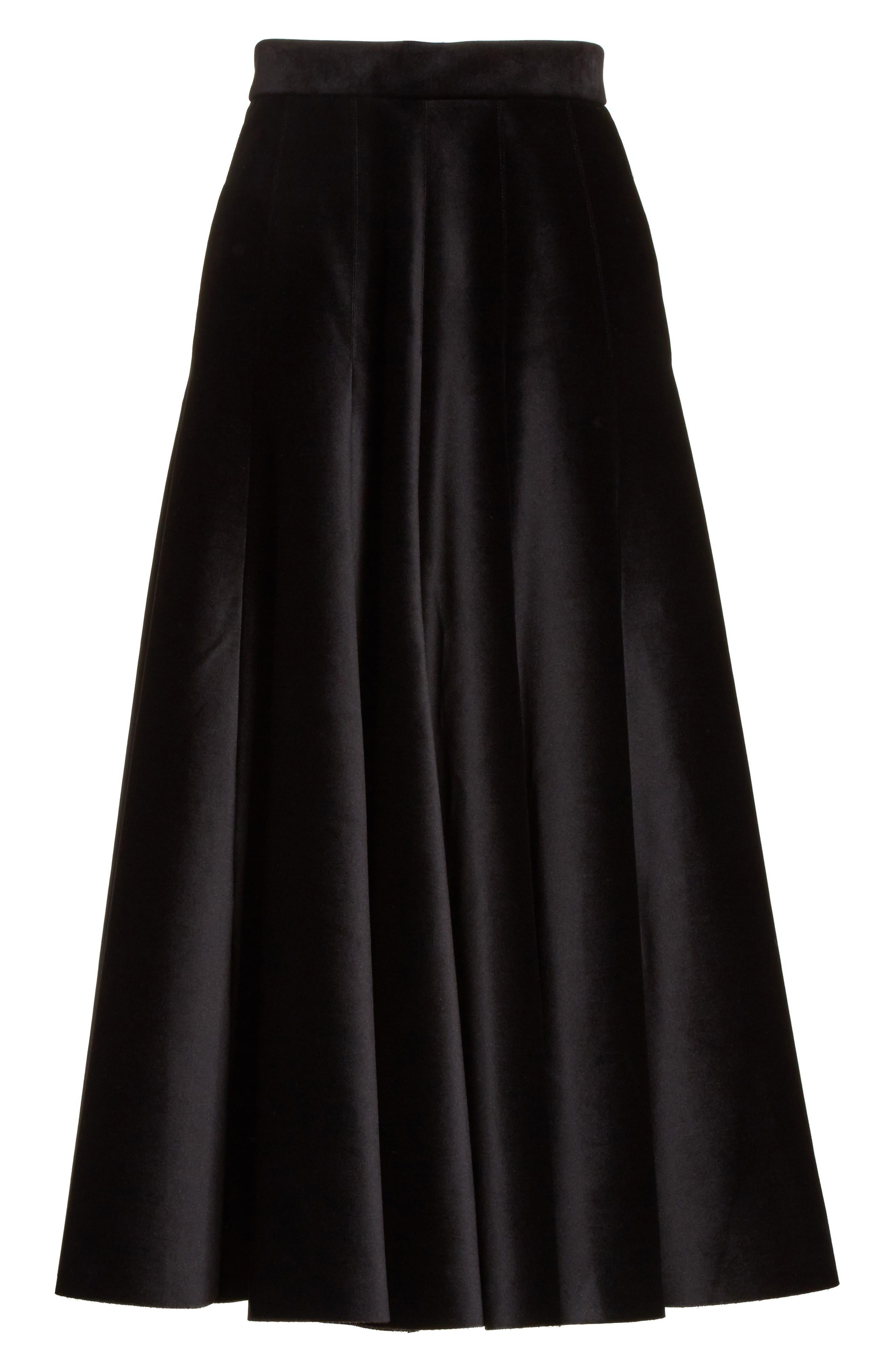 Velvet A-Line Midi Skirt,                             Alternate thumbnail 6, color,                             Black