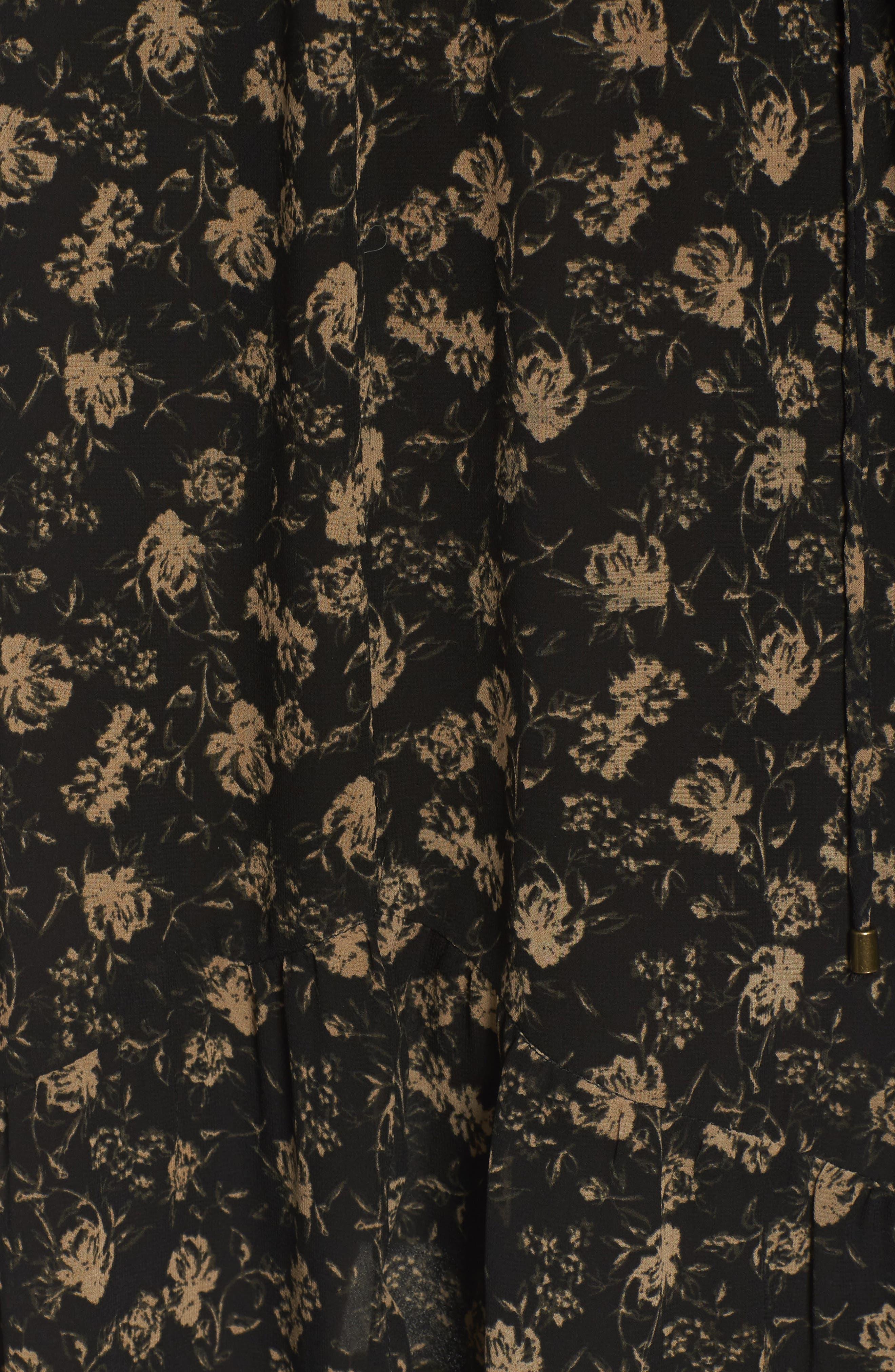 Ambrosia Shift Dress,                             Alternate thumbnail 6, color,                             Black-Tan Floral