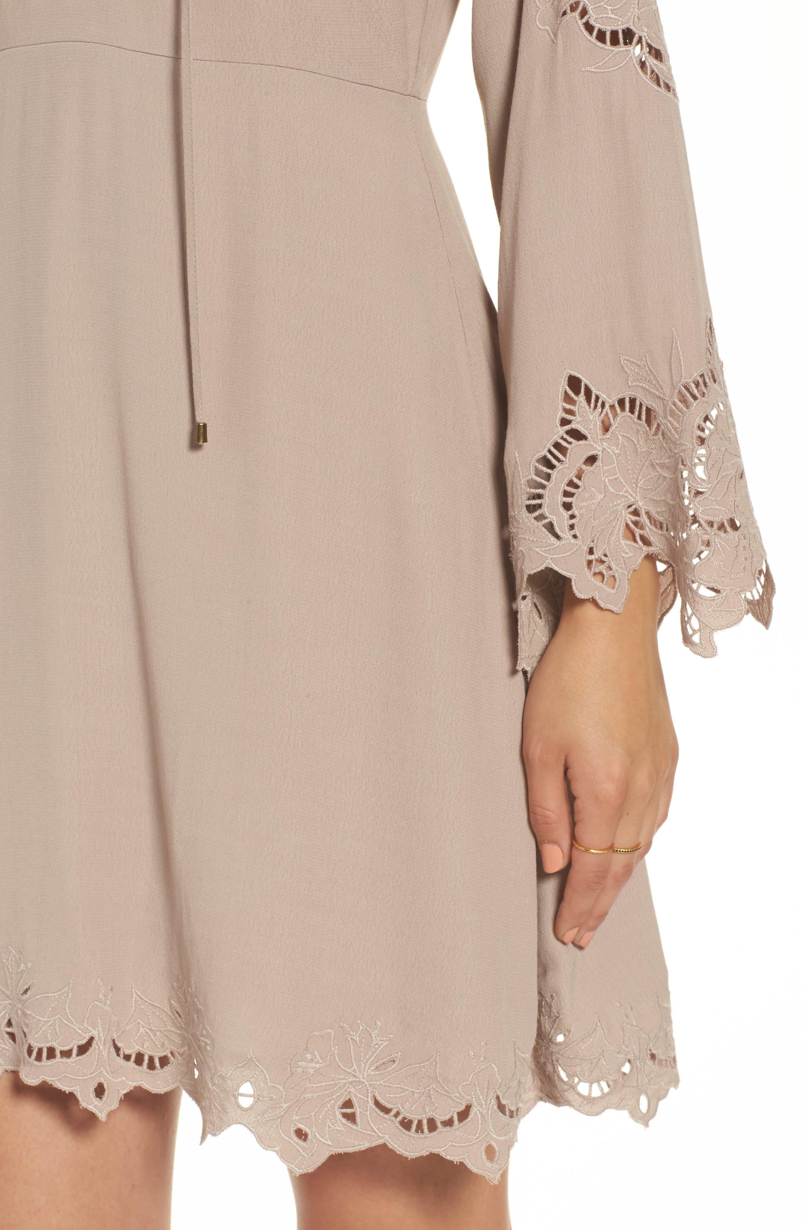 Fern Fit & Flare Dress,                             Alternate thumbnail 4, color,                             Faded Mauve