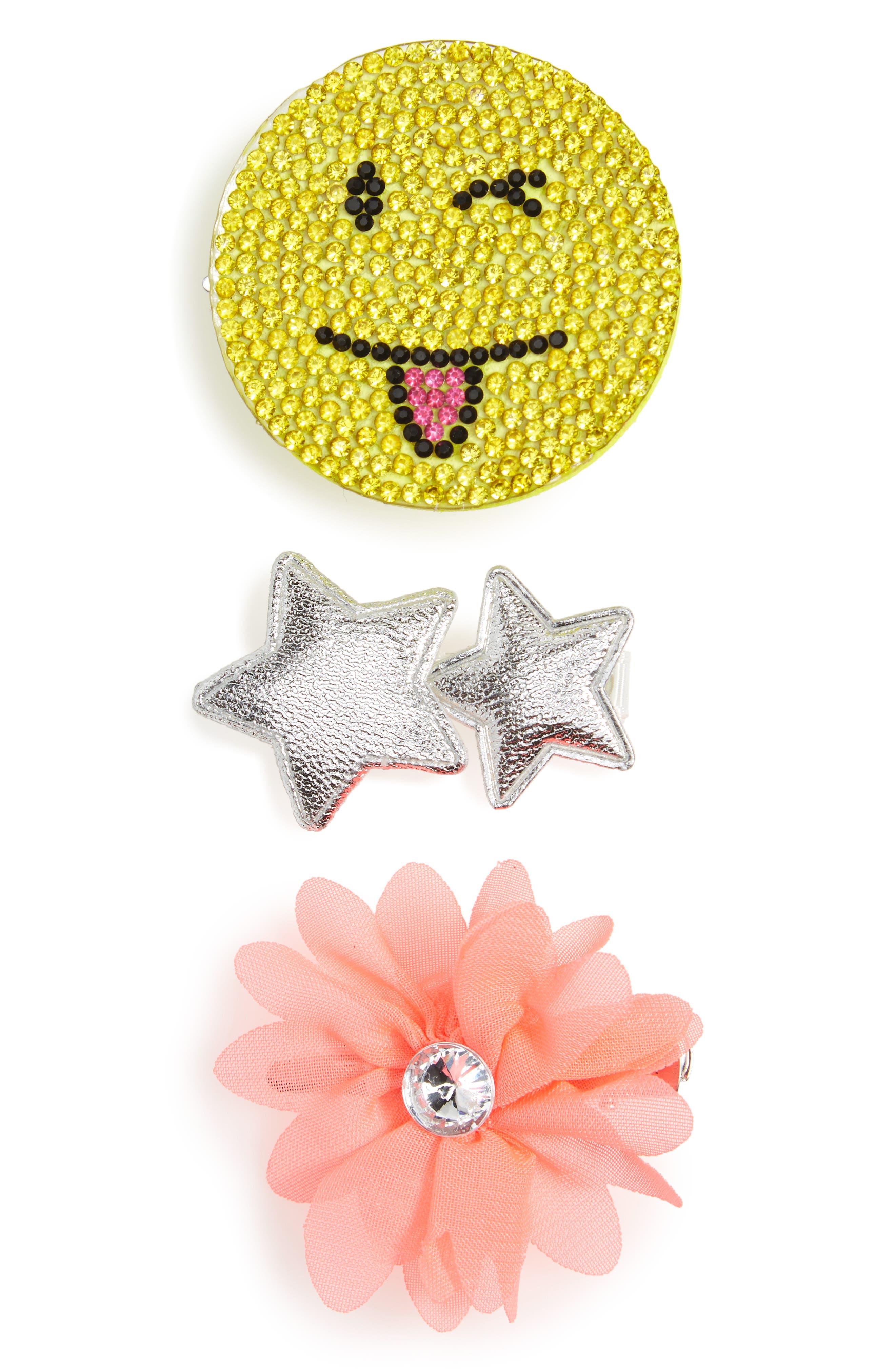 Capelli of New York Emoji & Star 3-Pack Hair Clips (Girls)