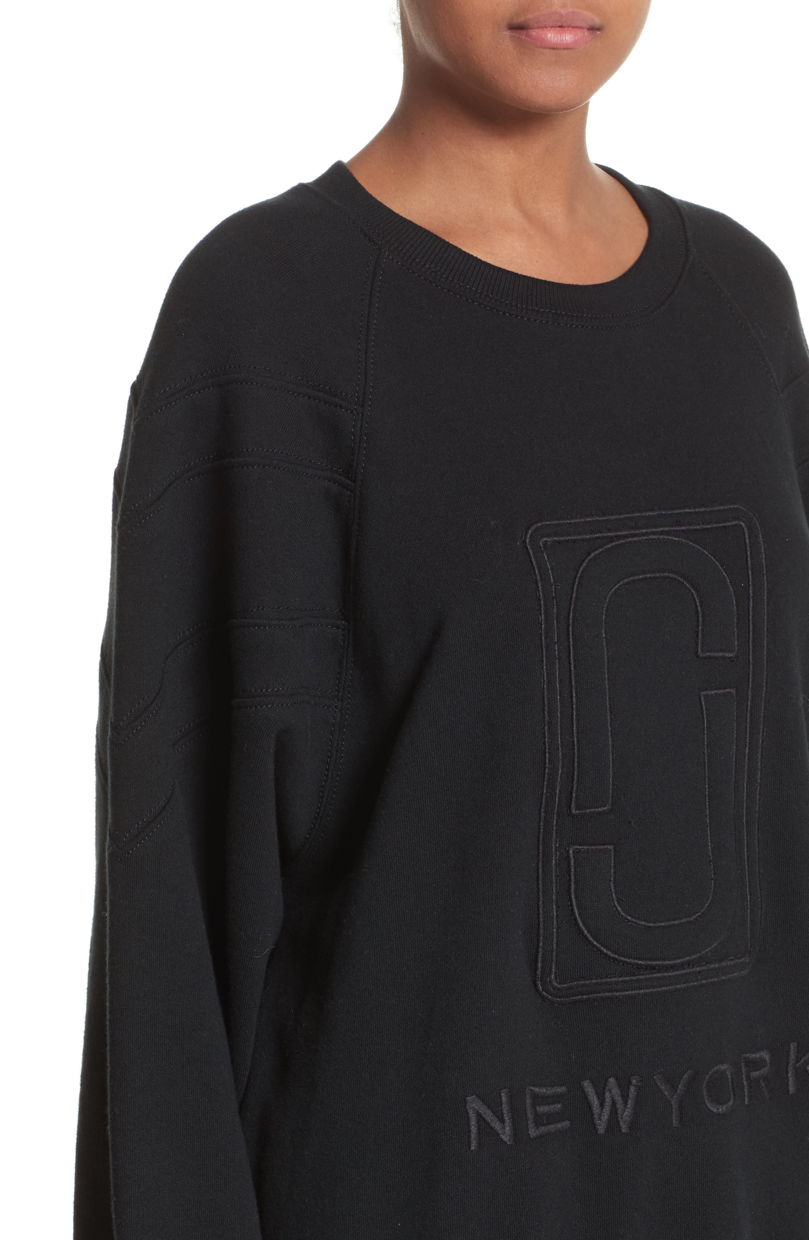 Embroidered Logo Sweatshirt,                             Alternate thumbnail 4, color,                             Black