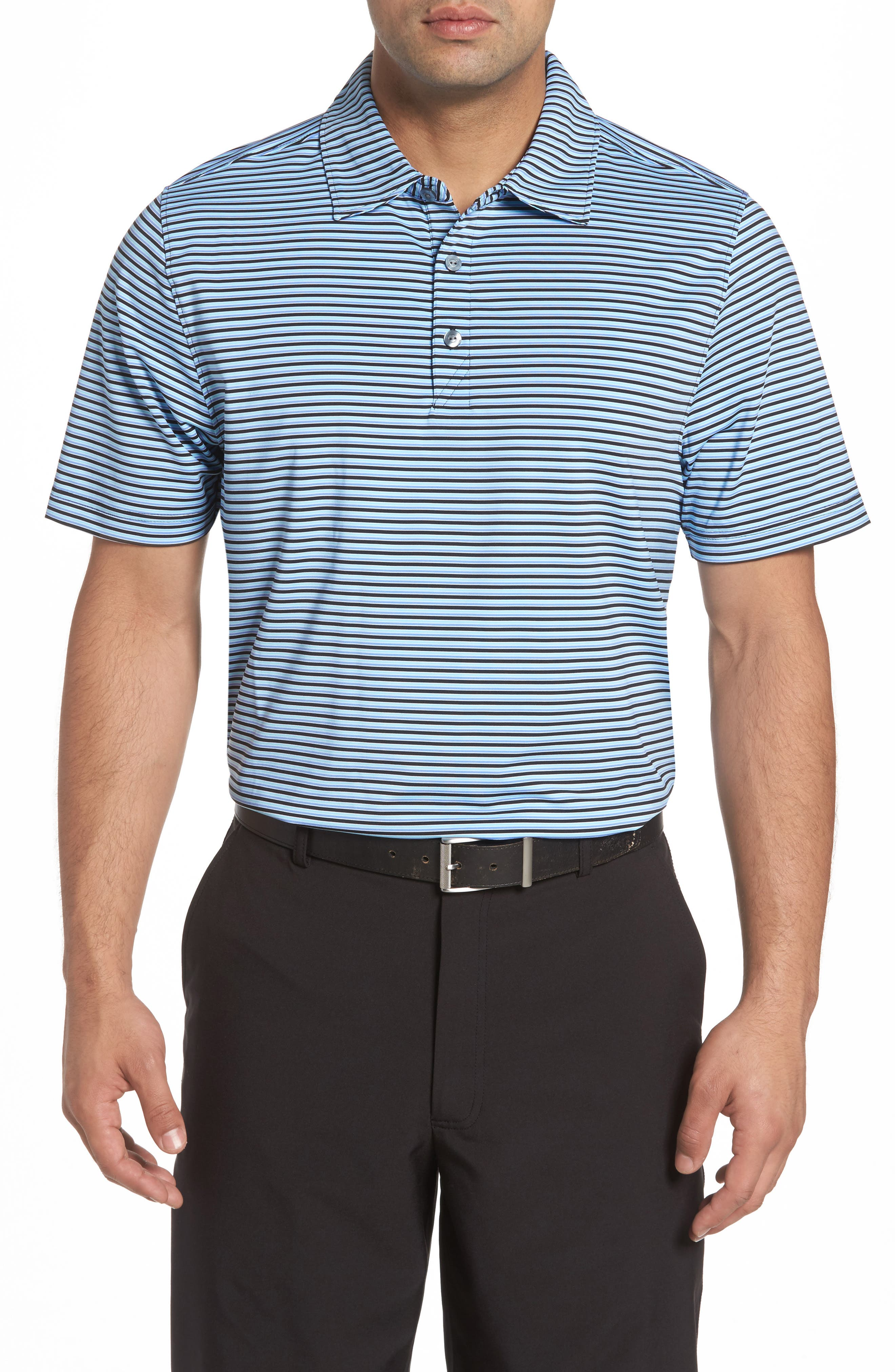 Division Stripe Jersey Polo,                         Main,                         color, Black/ Aruba