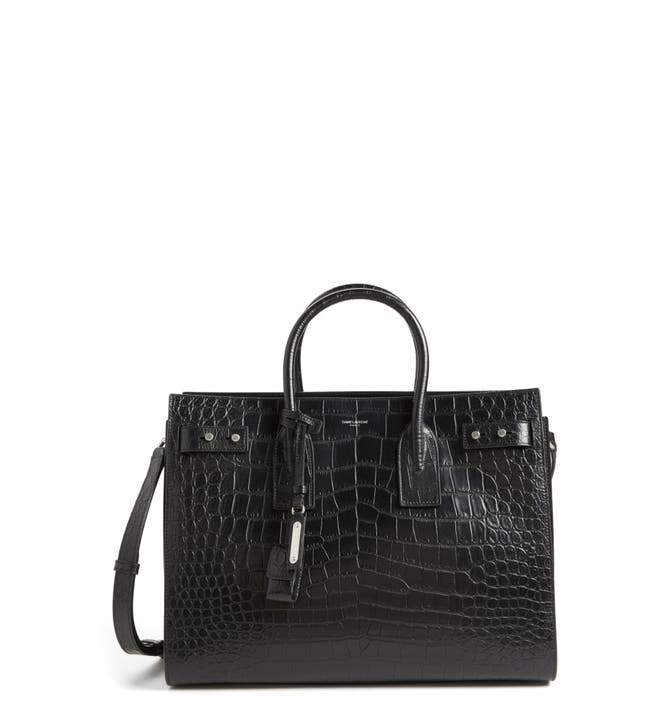 Main Image - Saint Laurent Small Sac de Jour Croc Embossed Leather Tote