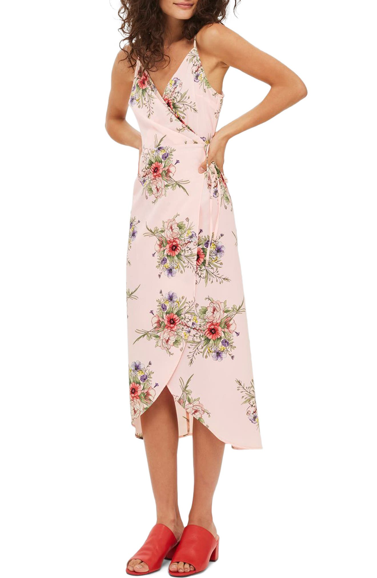 Topshop Floral Wrap Slipdress
