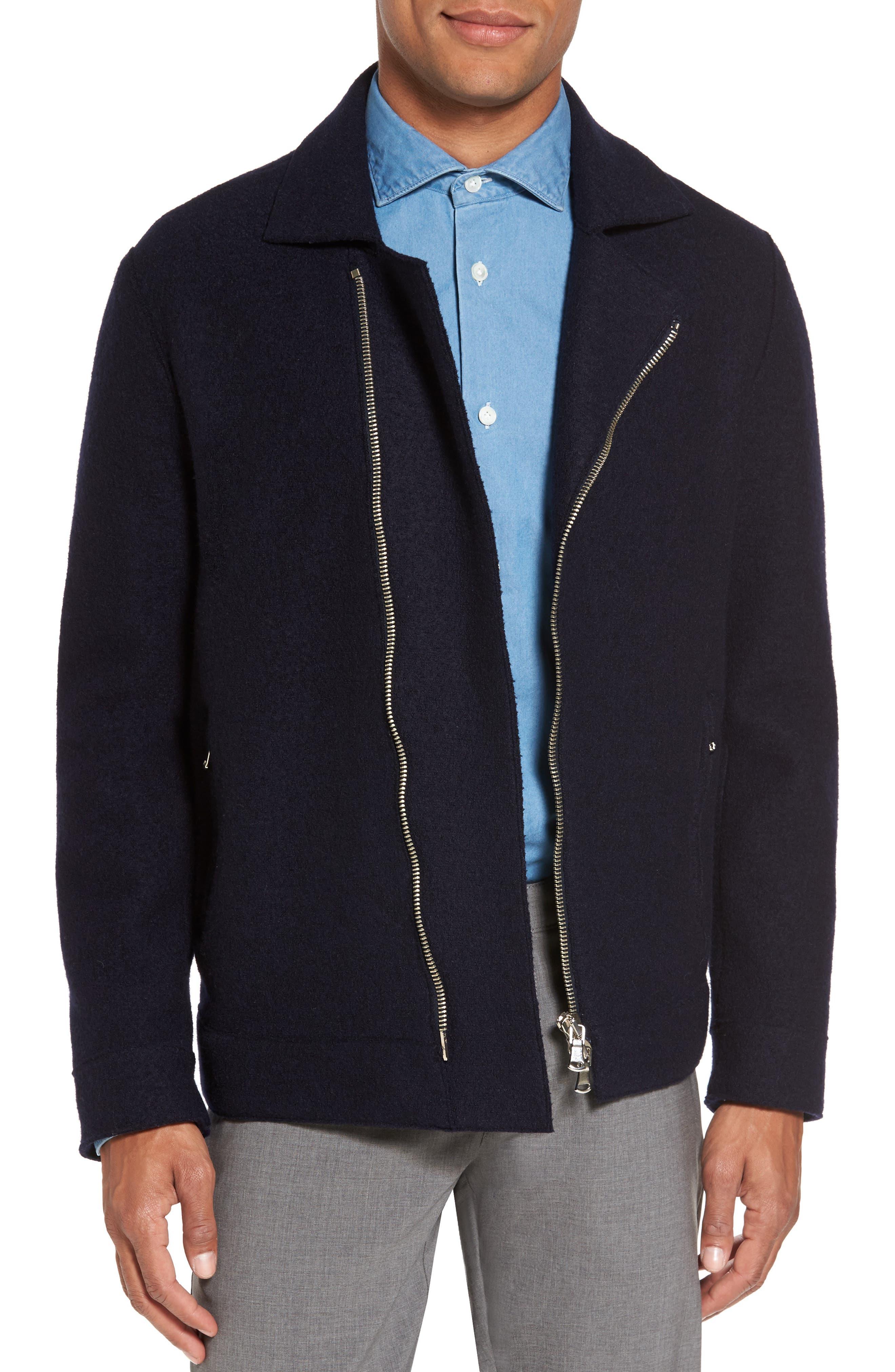 Eleventy Asymmetrical Wool Moto Jacket