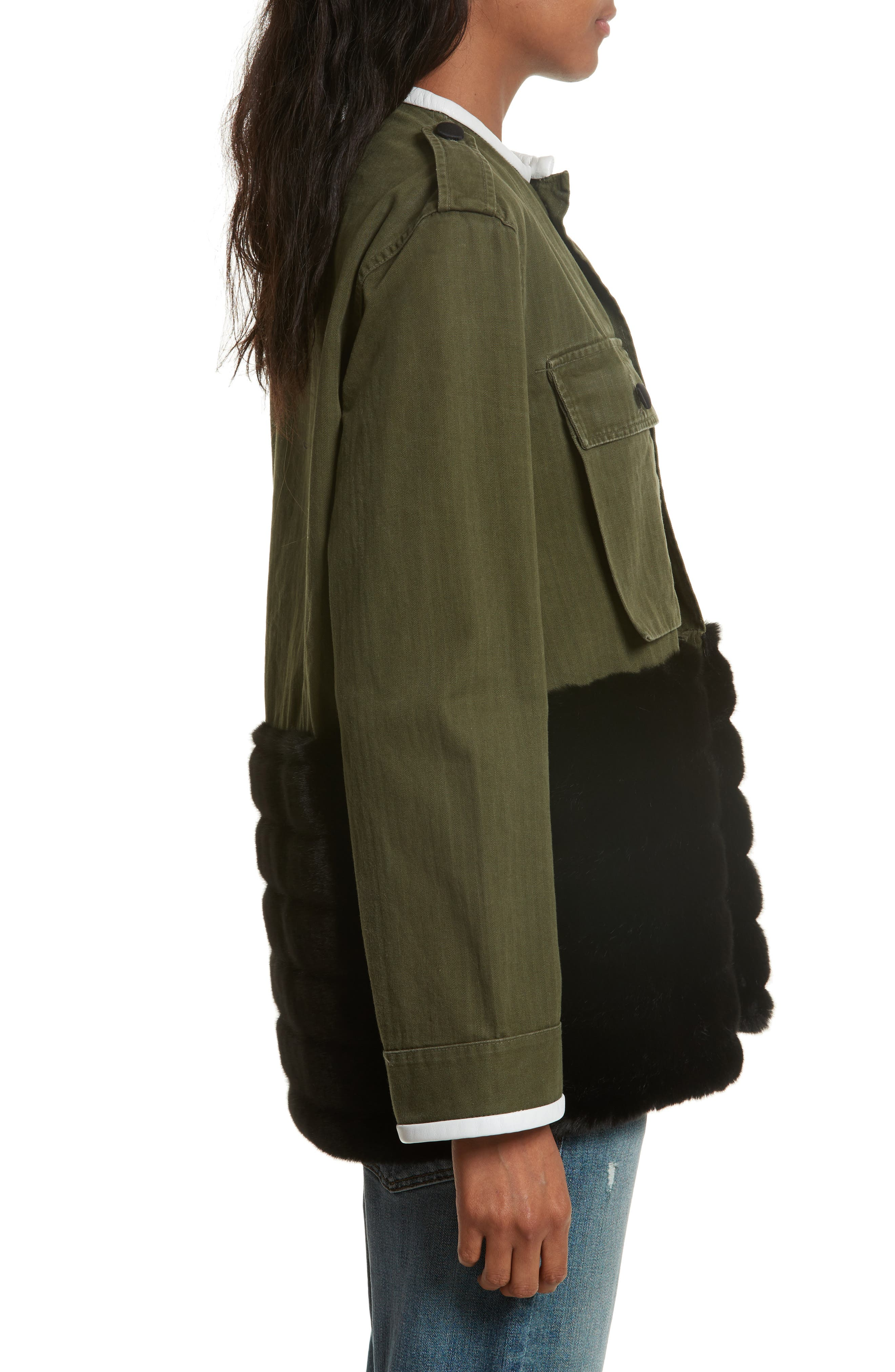 Alternate Image 3  - Harvey Faircloth Vintage Army Jacket with Faux Fur Trim