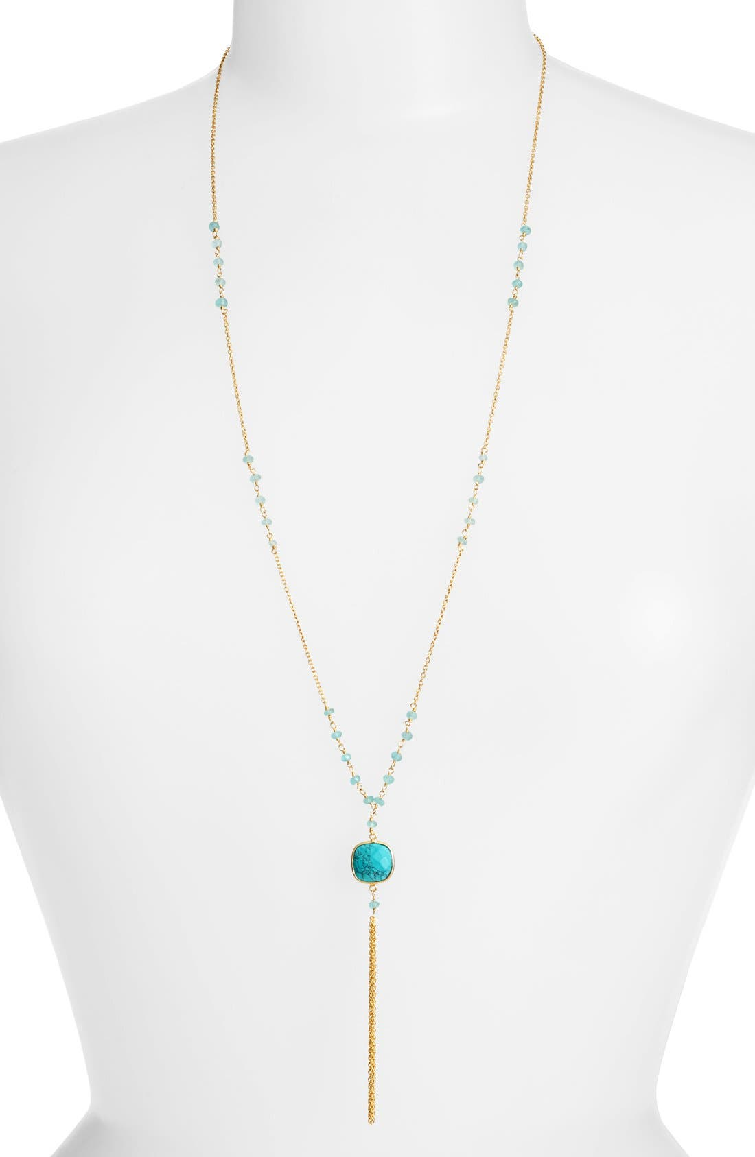 Beaded Y-Necklace,                         Main,                         color, Gold/ Turquoise