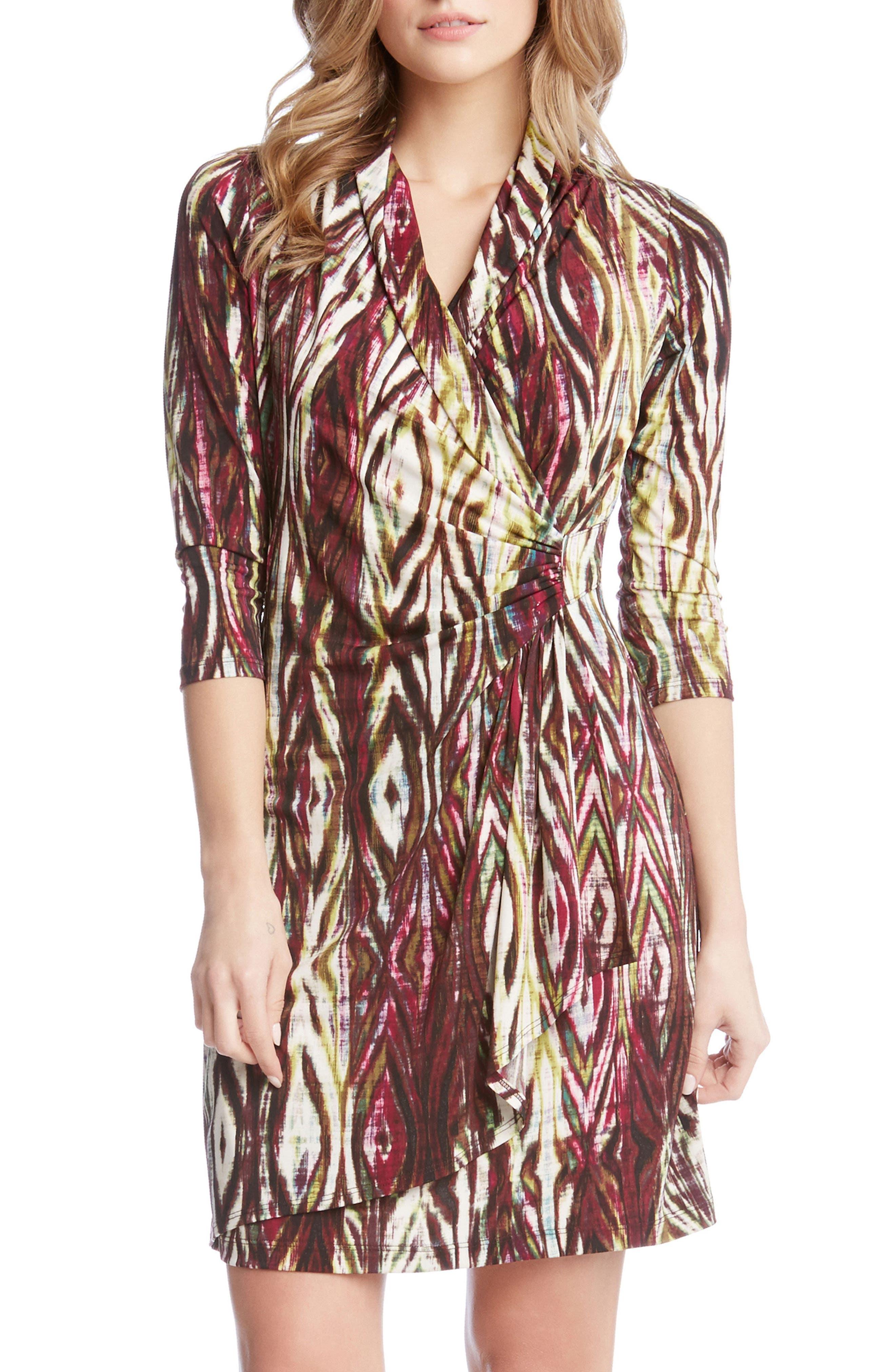 Main Image - Karen Kane Print Jersey Cascade Faux Wrap Dress