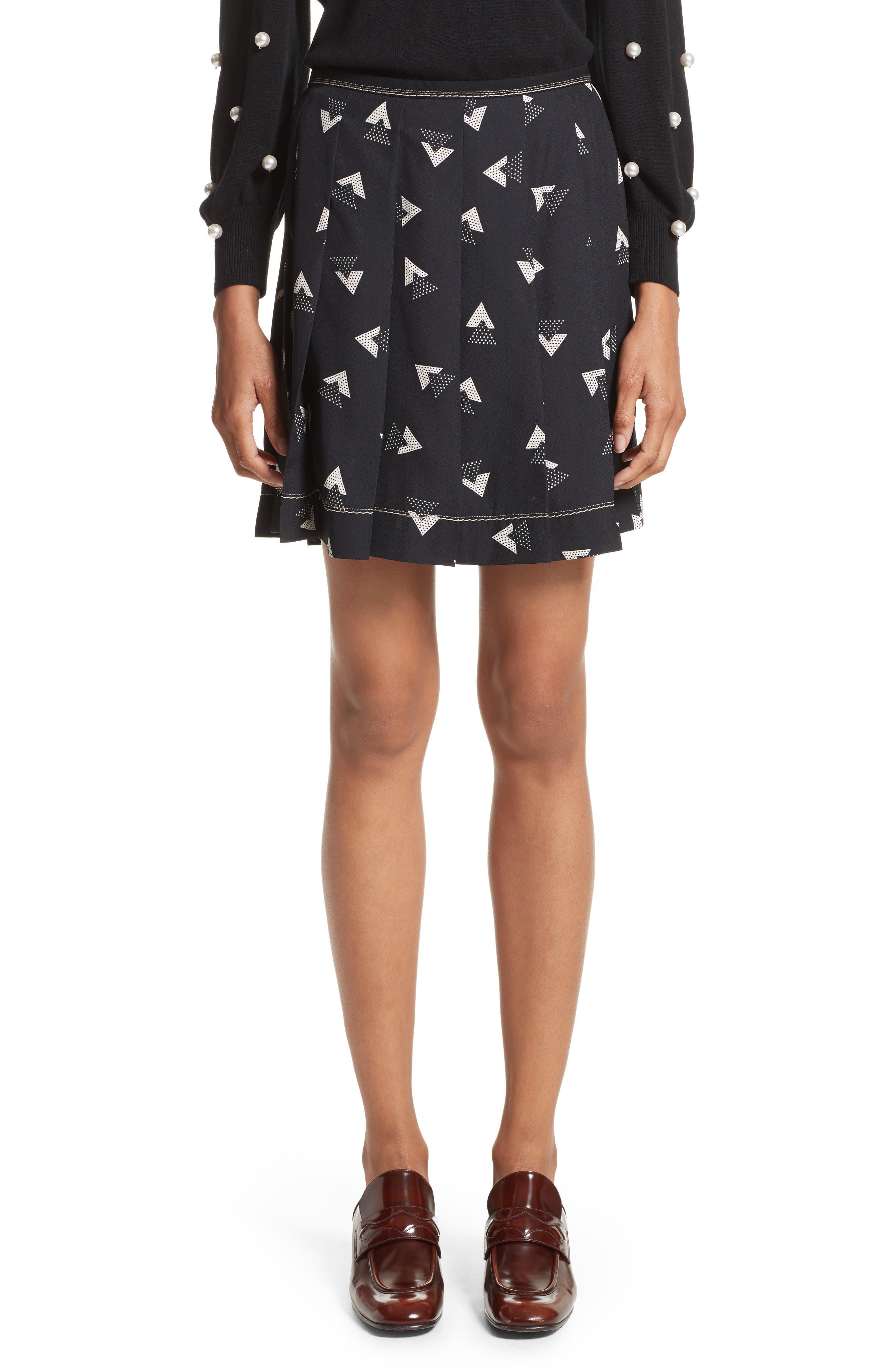 MARC JACOBS Geo Print Satin Back Crepe Pleated Skirt