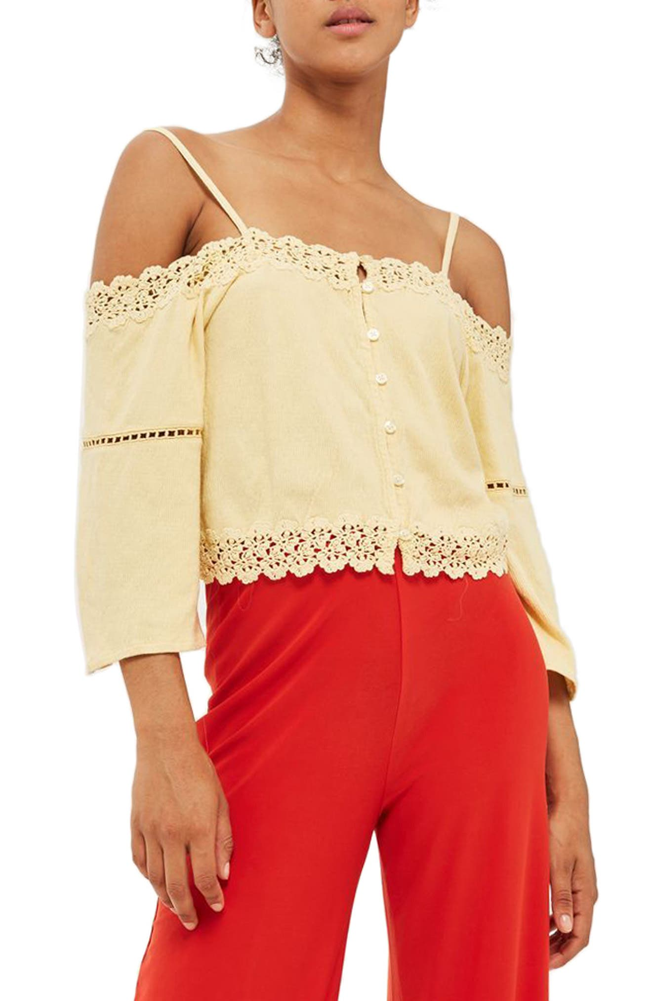 Topshop Lace Trim Off the Shoulder Top