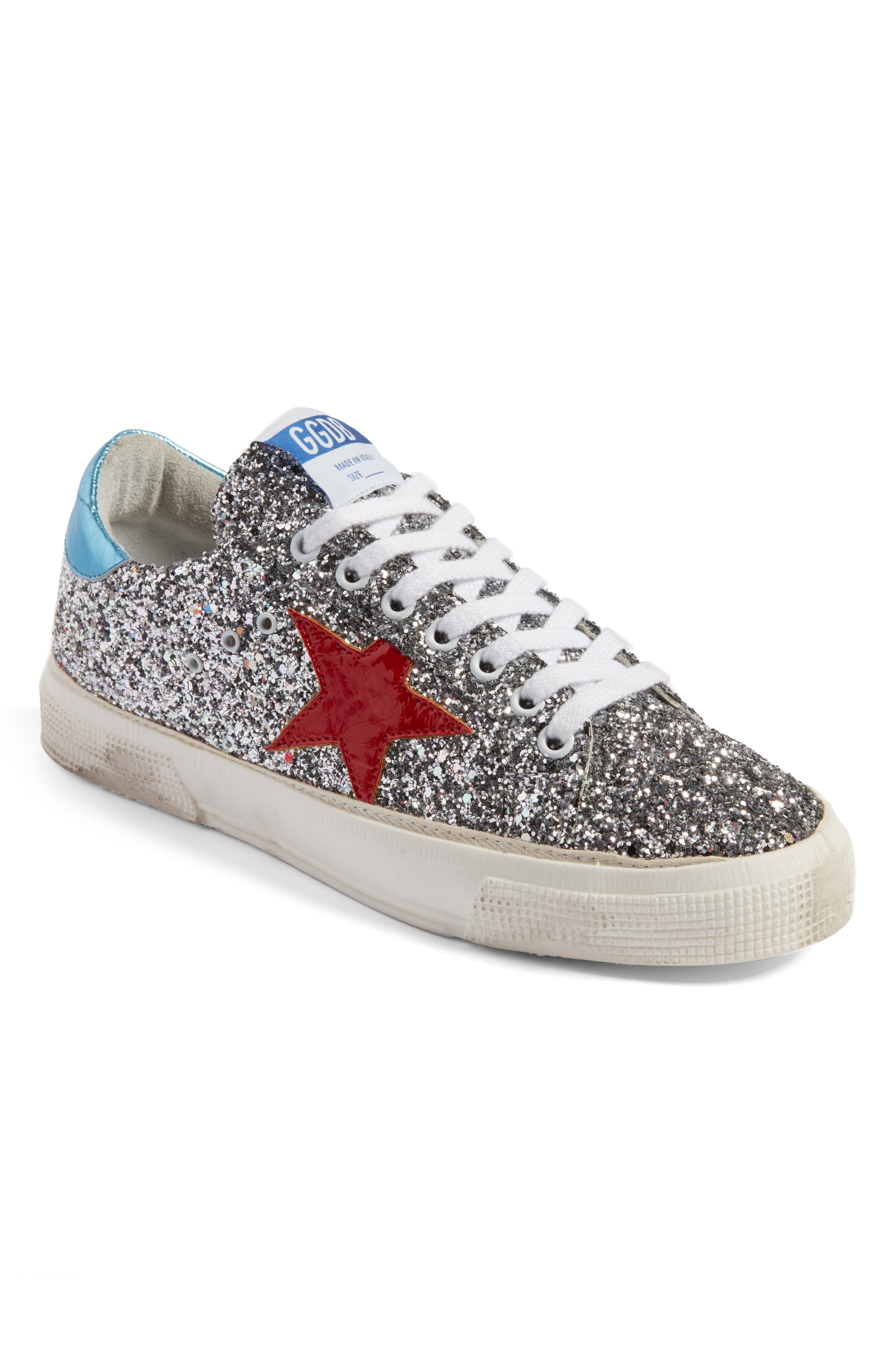 May Sneaker,                             Main thumbnail 1, color,                             Silver Glitter/ Red