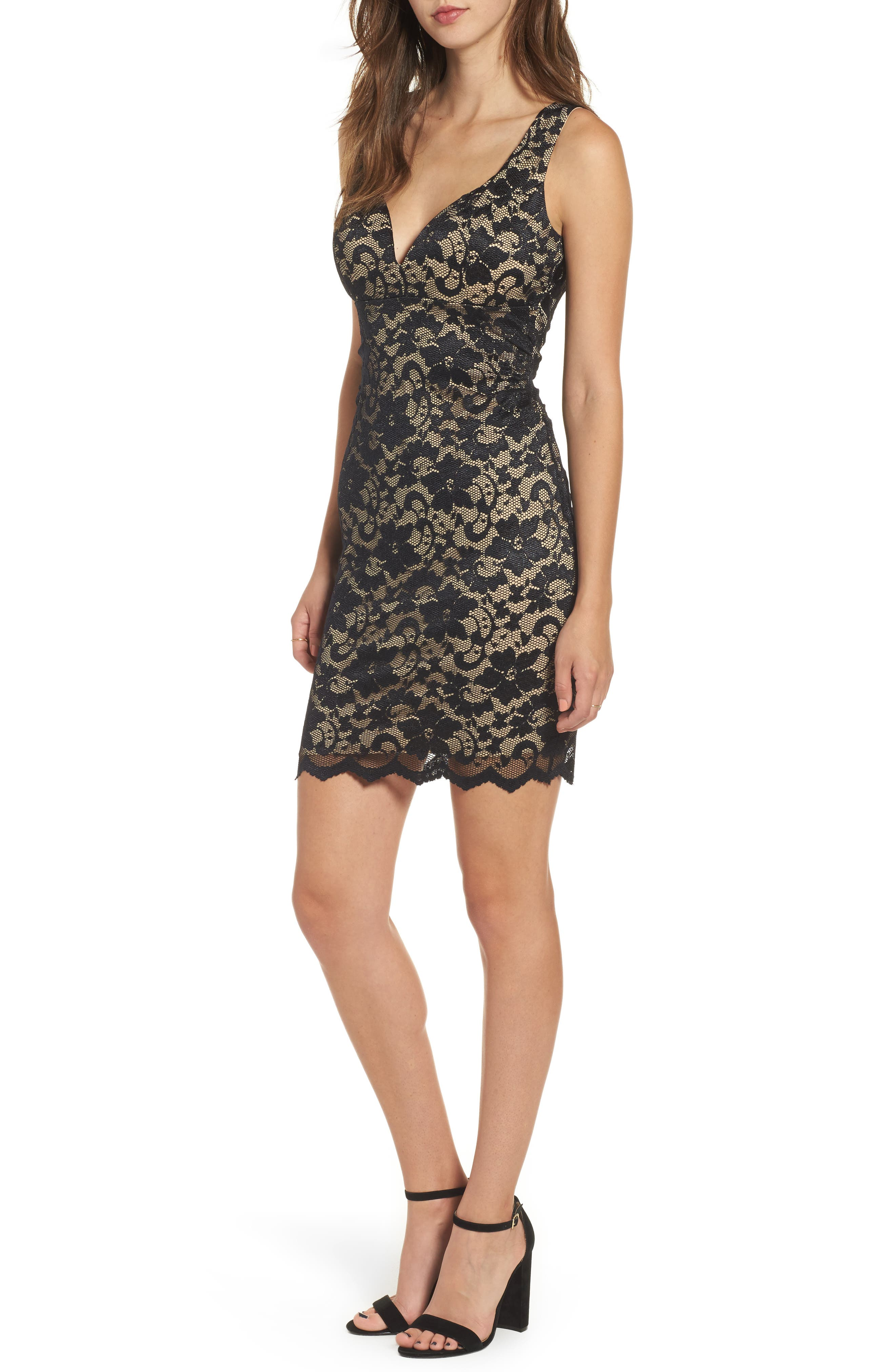 Love Nickie Lew Lace Body Con Dress,                             Main thumbnail 1, color,                             Black/ Nude