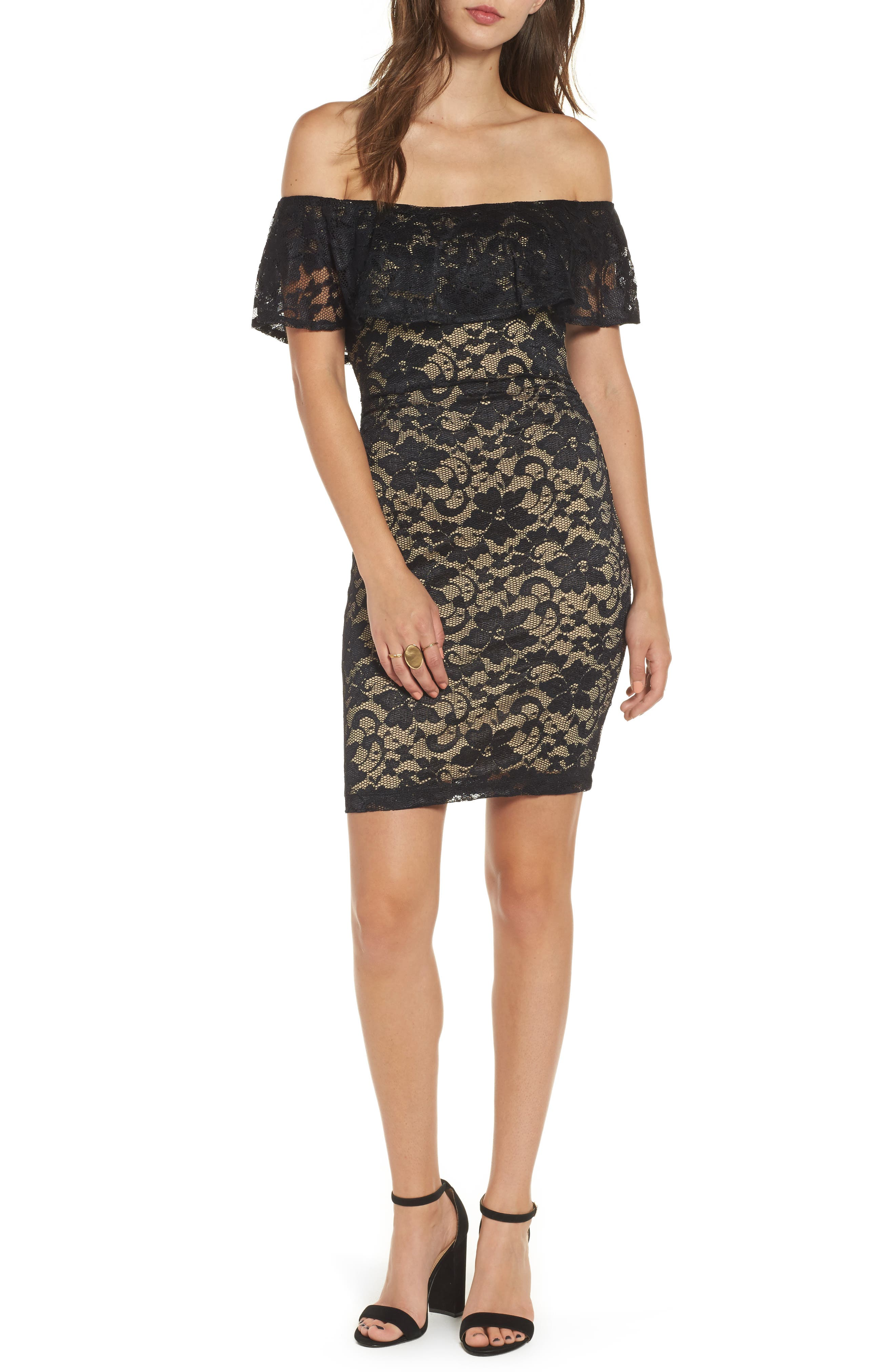 Love Nickie Lew Lace Off the Shoulder Dress,                             Main thumbnail 1, color,                             Black/ Nude
