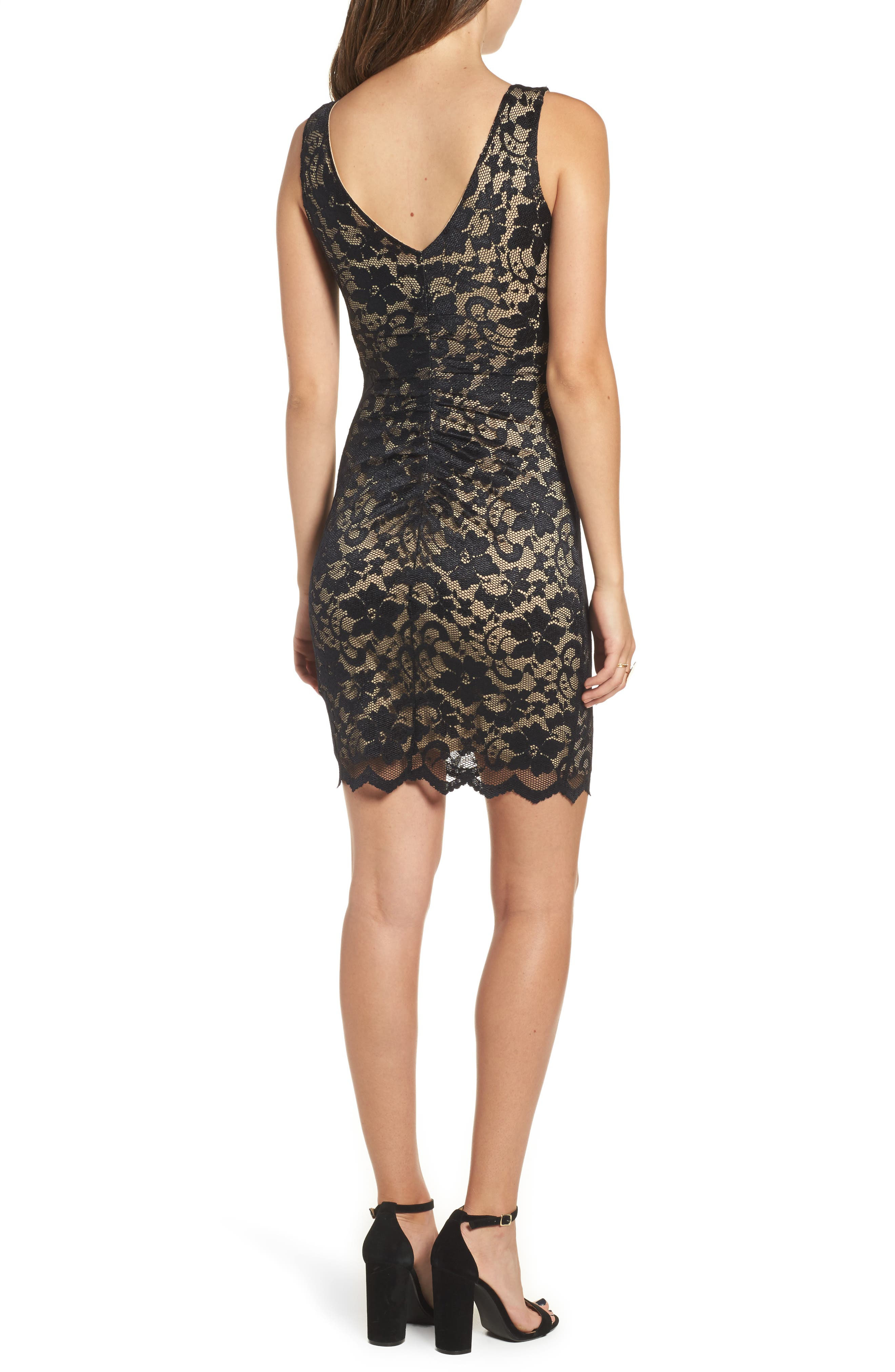 Love Nickie Lew Lace Body Con Dress,                             Alternate thumbnail 2, color,                             Black/ Nude