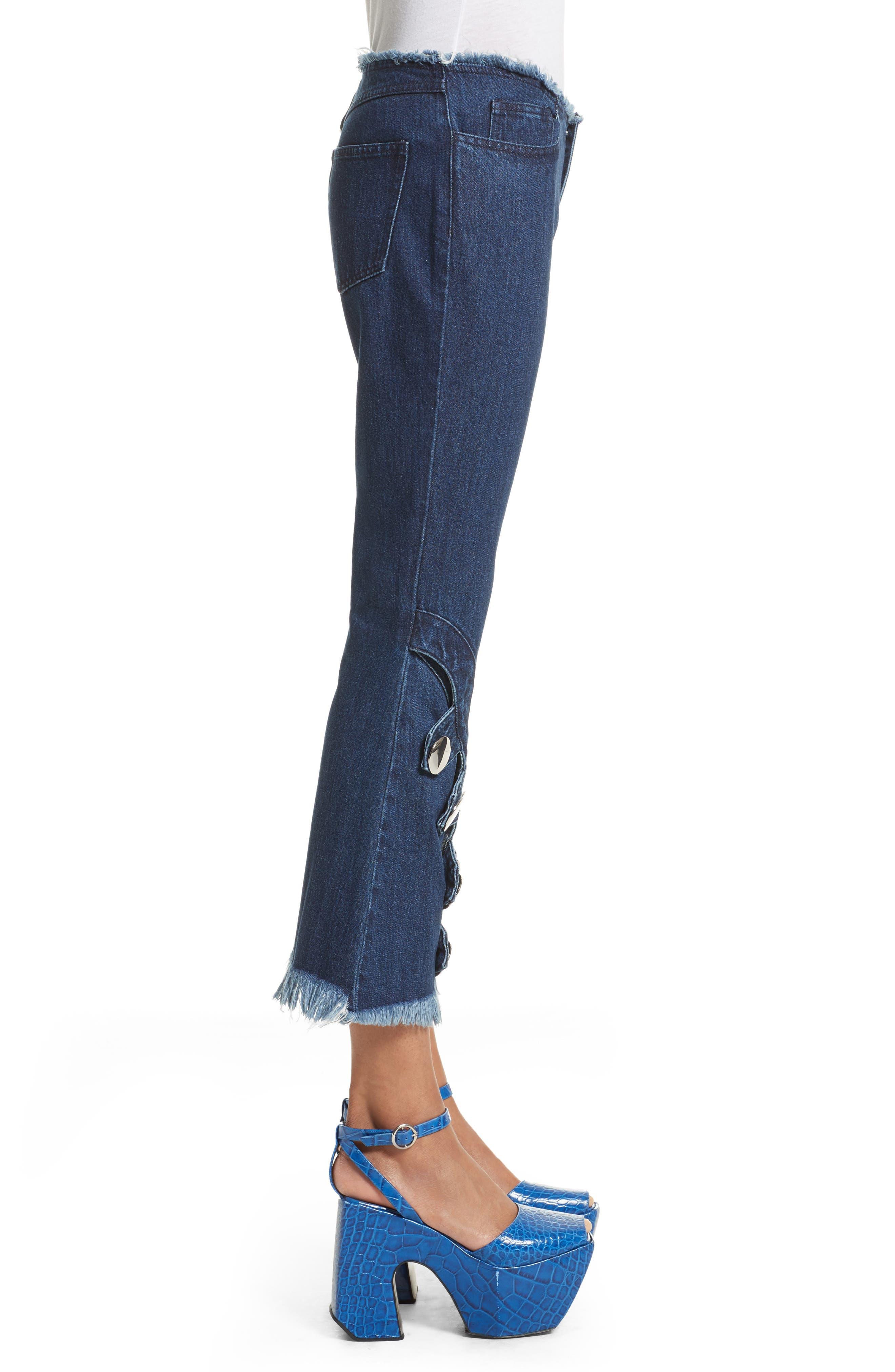 Marques'Almeida Button Trim Crop Flare Jeans,                             Alternate thumbnail 3, color,                             Indigo