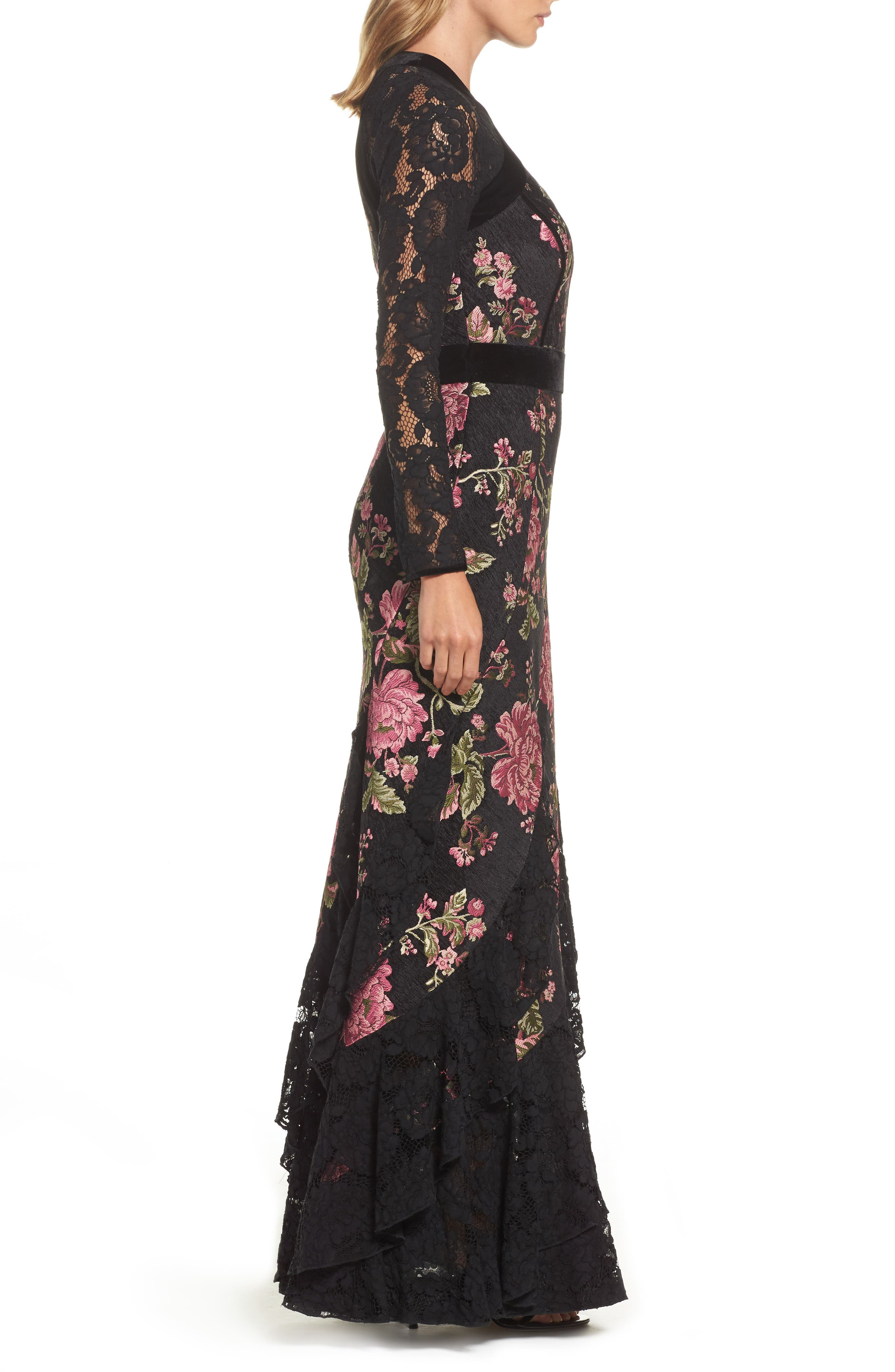 Lace & Brocade Mermaid Gown,                             Alternate thumbnail 3, color,                             Black