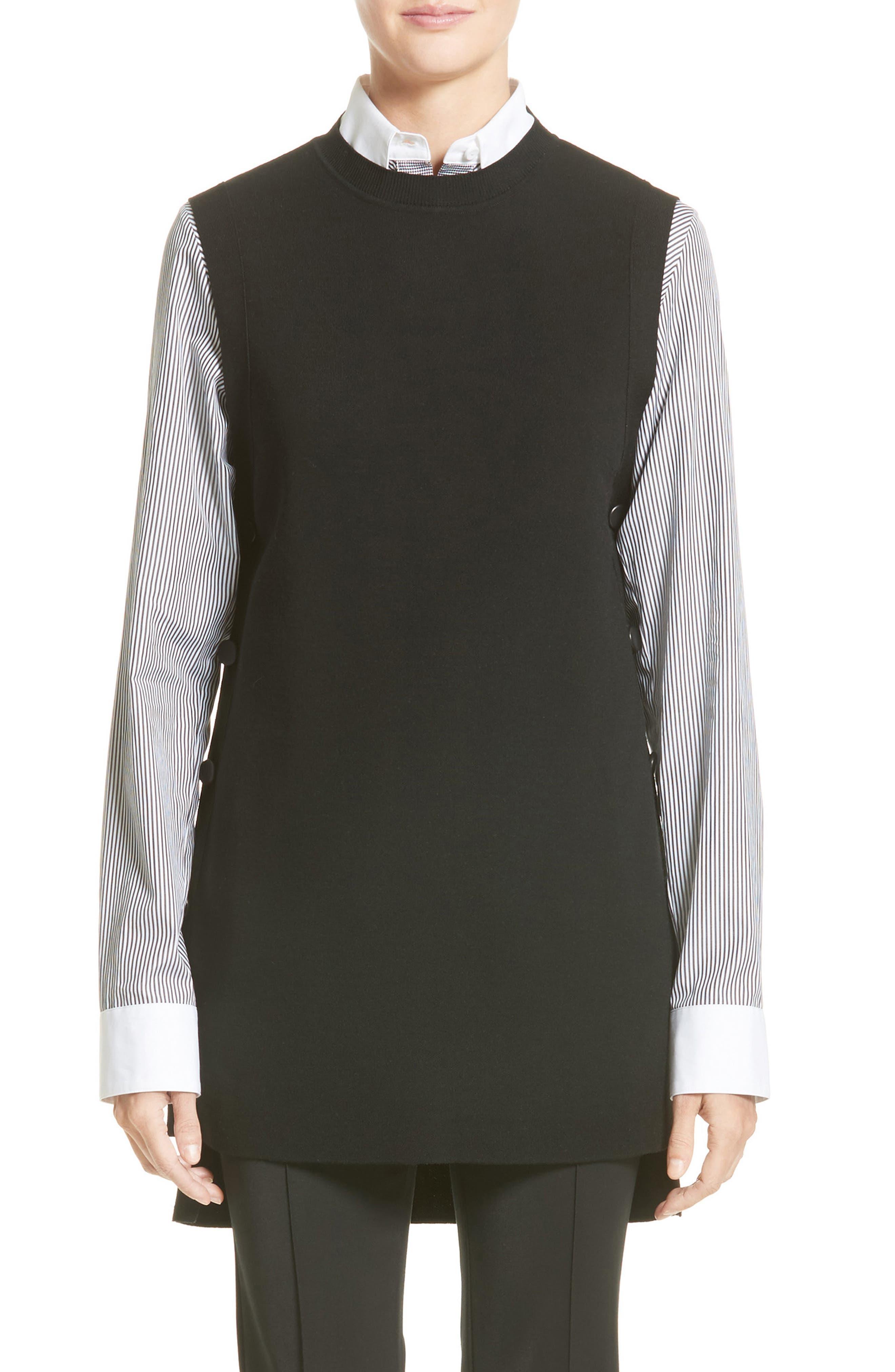 Adam Lippes Side Button Merino Wool Tunic Sweater
