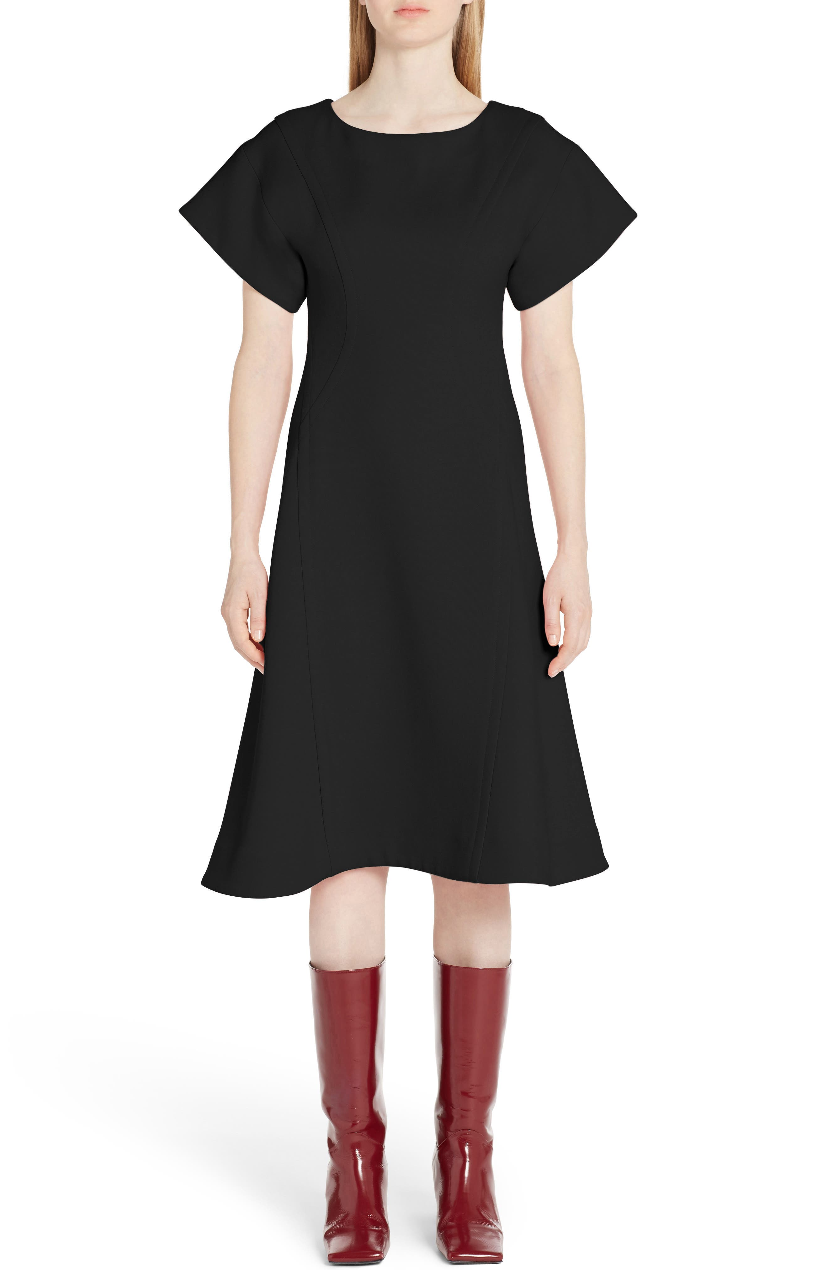 Marni Double Face Wool Crepe A-Line Dress