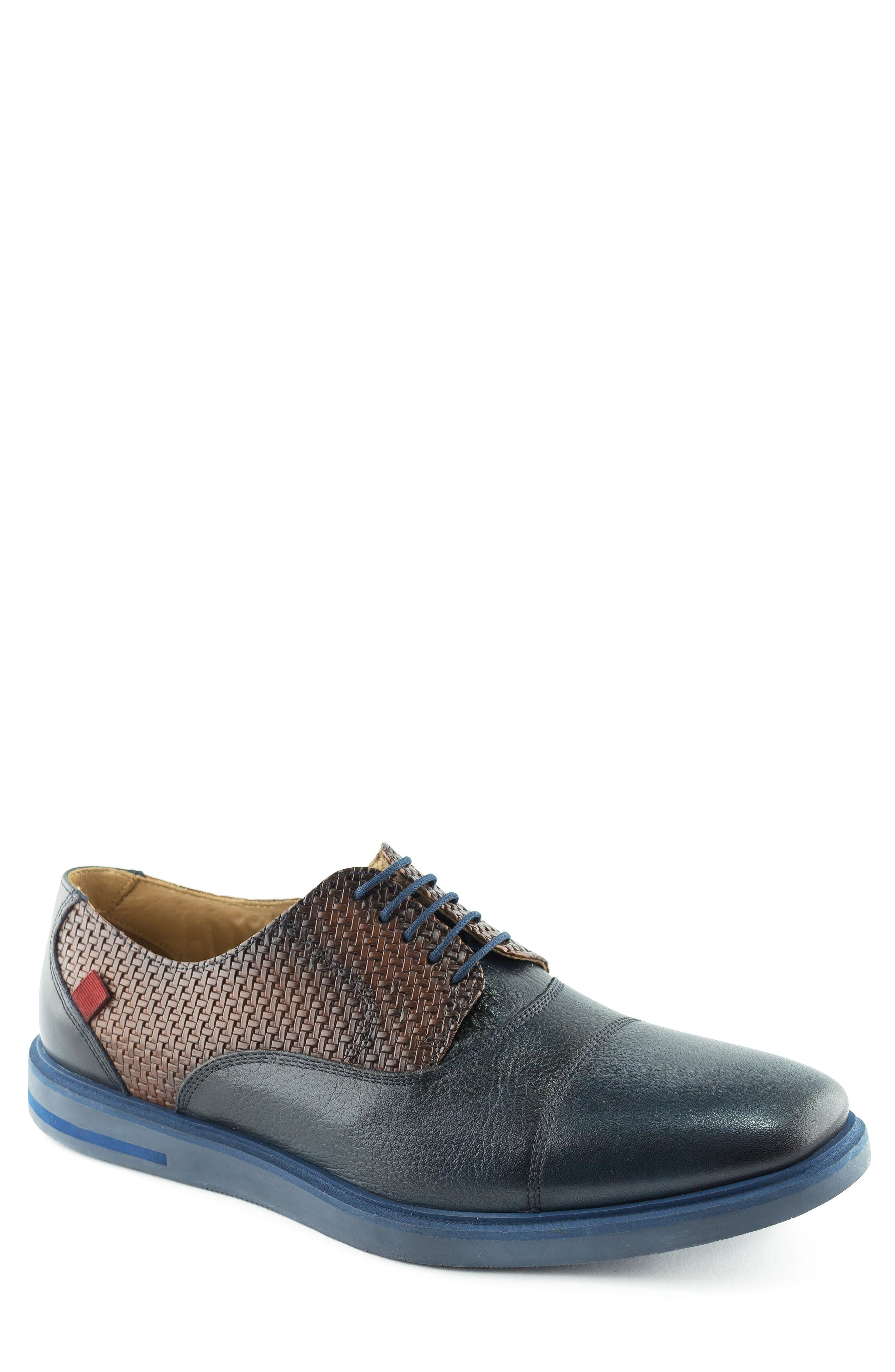 Manhattan Cap Toe Oxford,                             Main thumbnail 1, color,                             Navy Leather