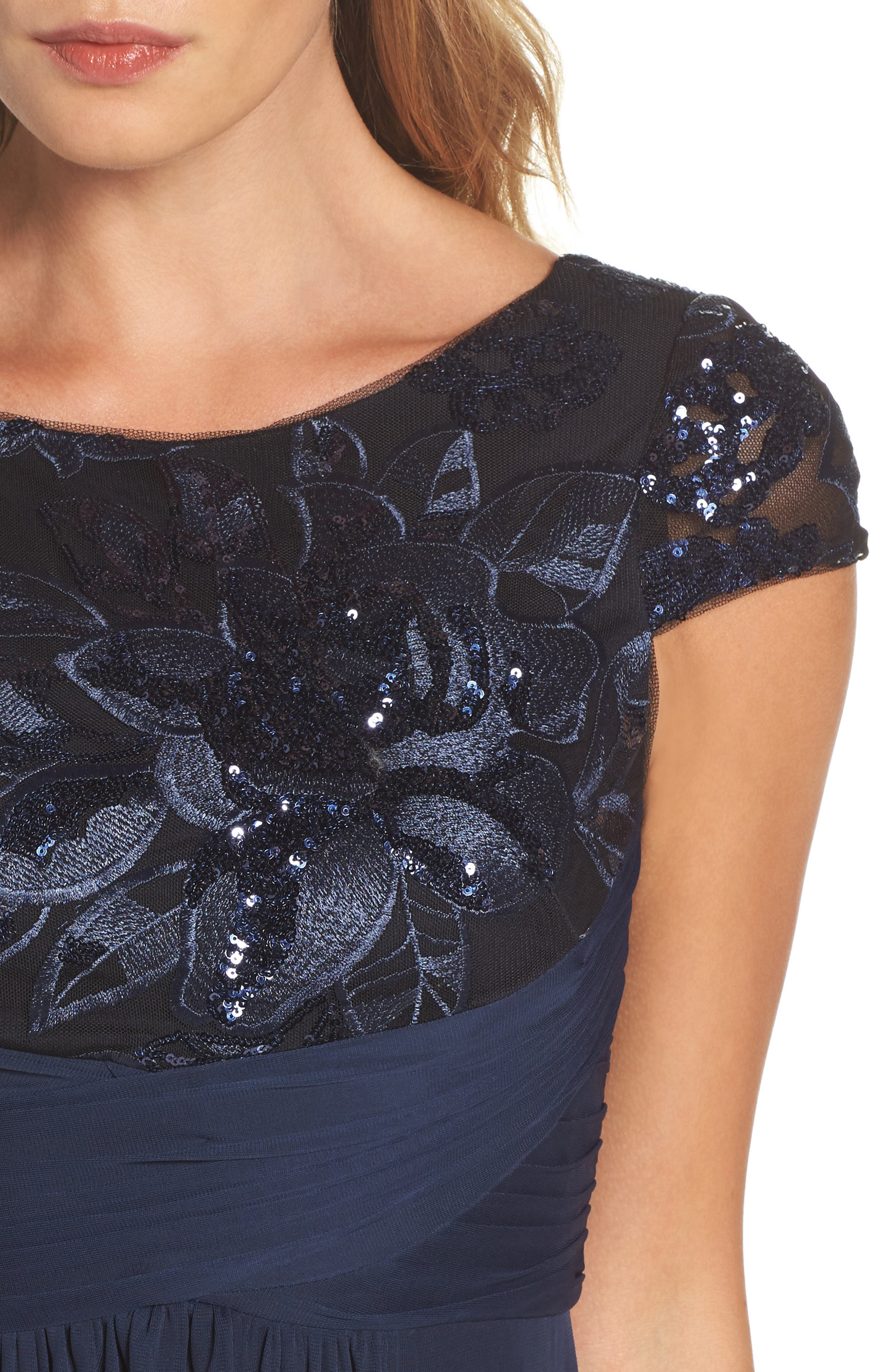 Embellished Gown,                             Alternate thumbnail 4, color,                             Navy